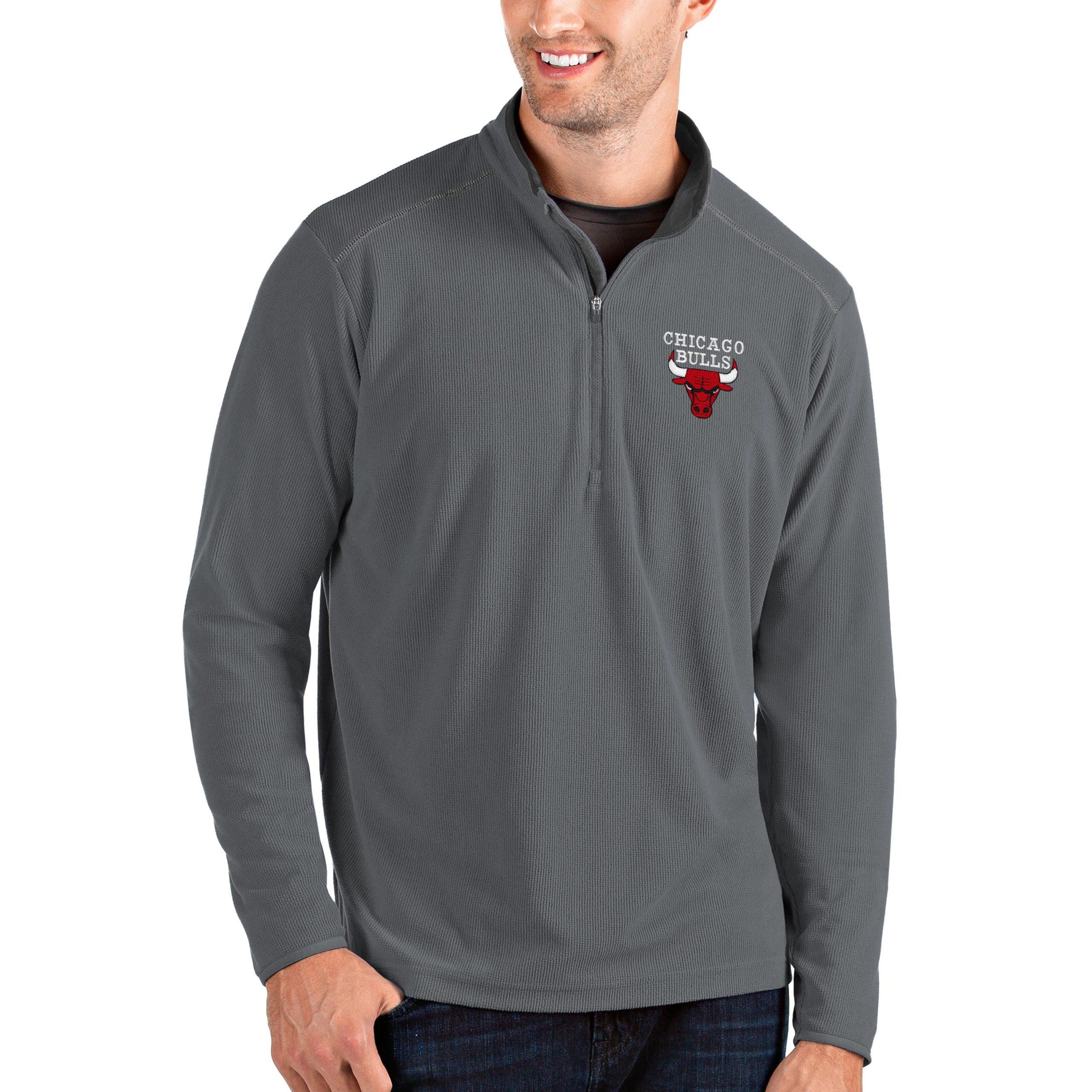 Chicago Bulls Antigua Big & Tall Glacier Quarter-Zip Pullover Jacket - Gray/Gray