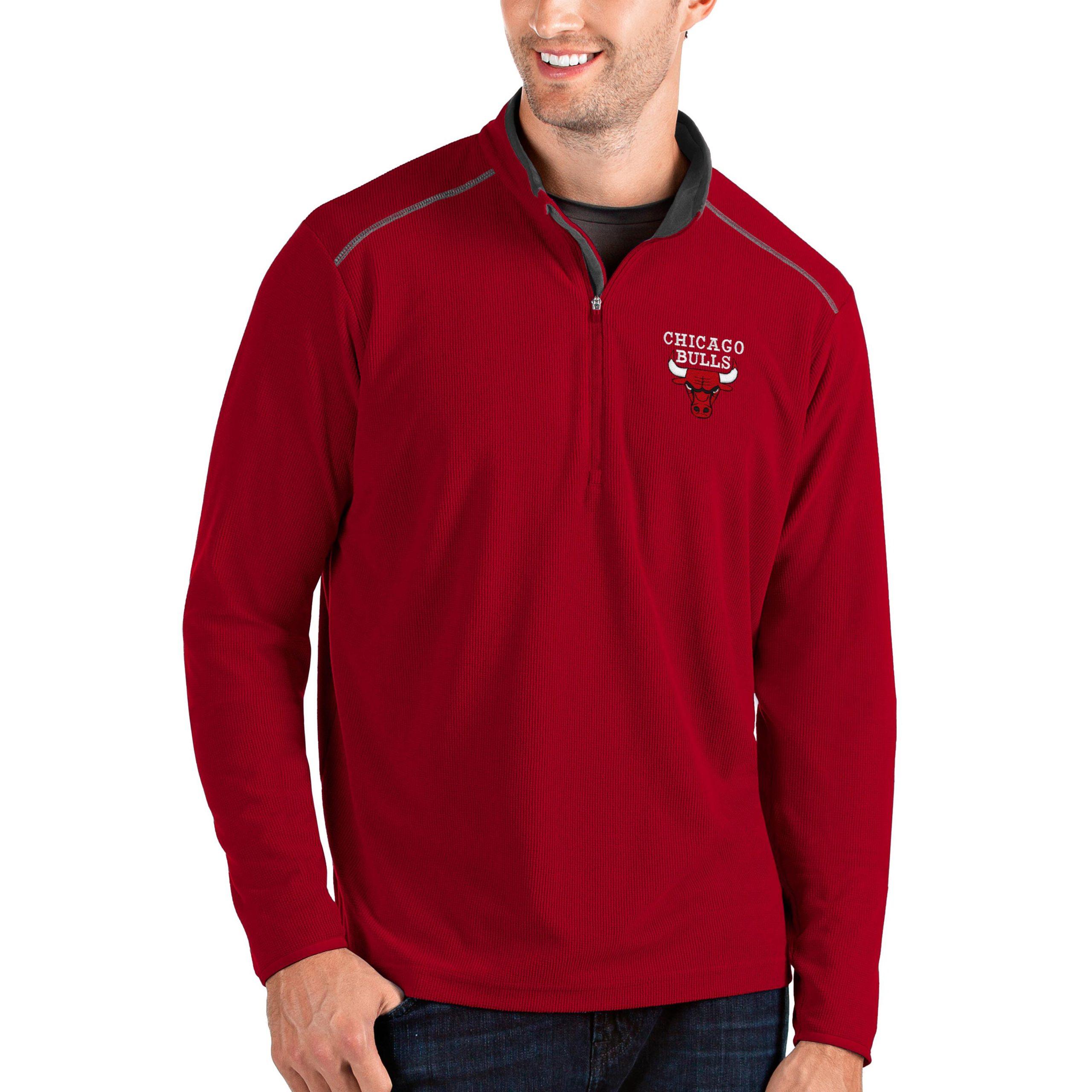 Chicago Bulls Antigua Big & Tall Glacier Quarter-Zip Pullover Jacket - Red/Gray