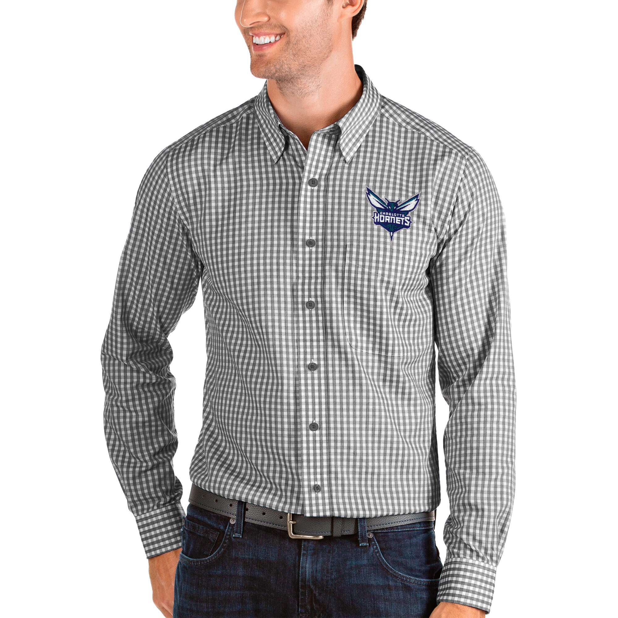 Charlotte Hornets Antigua Structure Long Sleeve Button-Up Shirt - Black/White