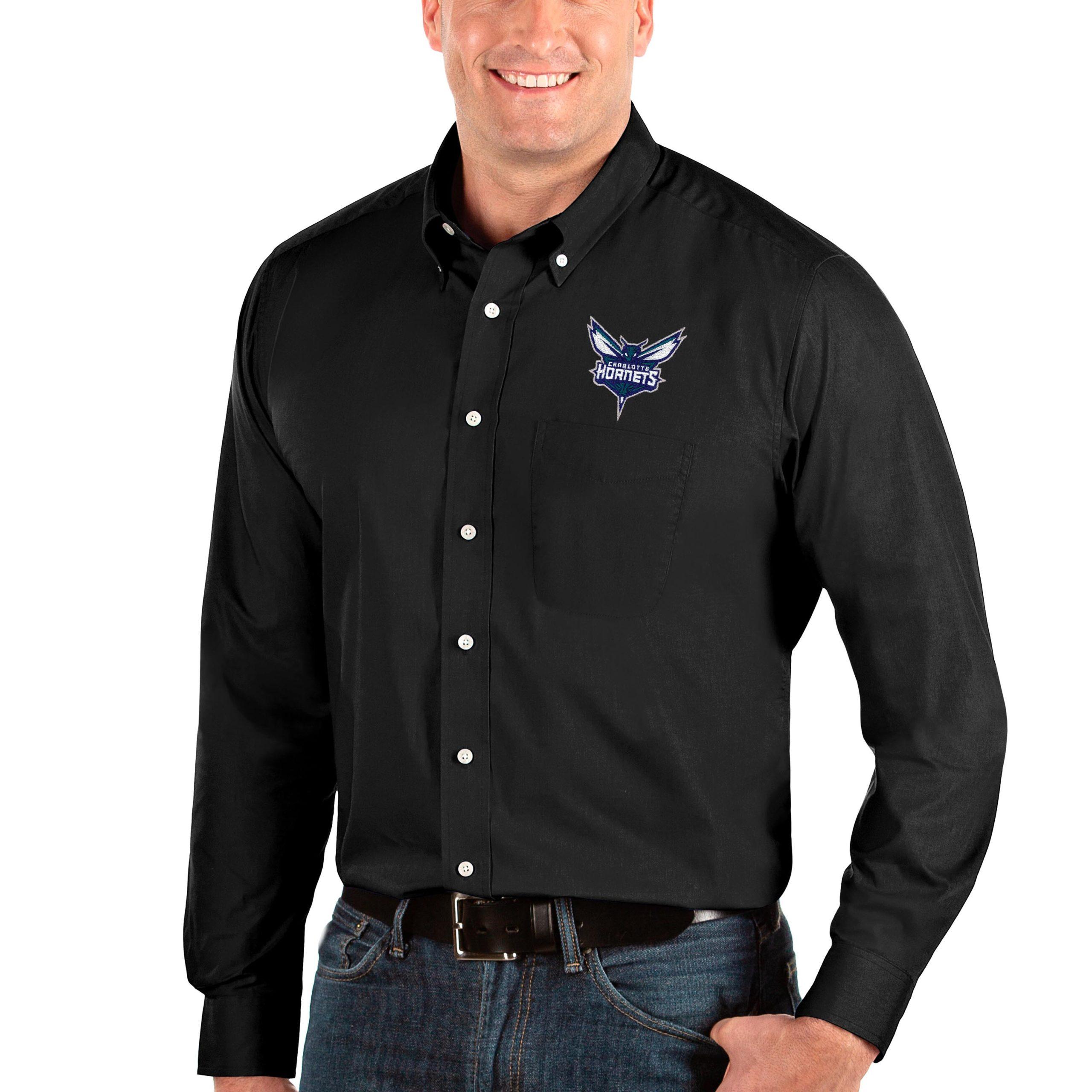 Charlotte Hornets Antigua Big & Tall Dynasty Long Sleeve Button-Down Shirt - Black