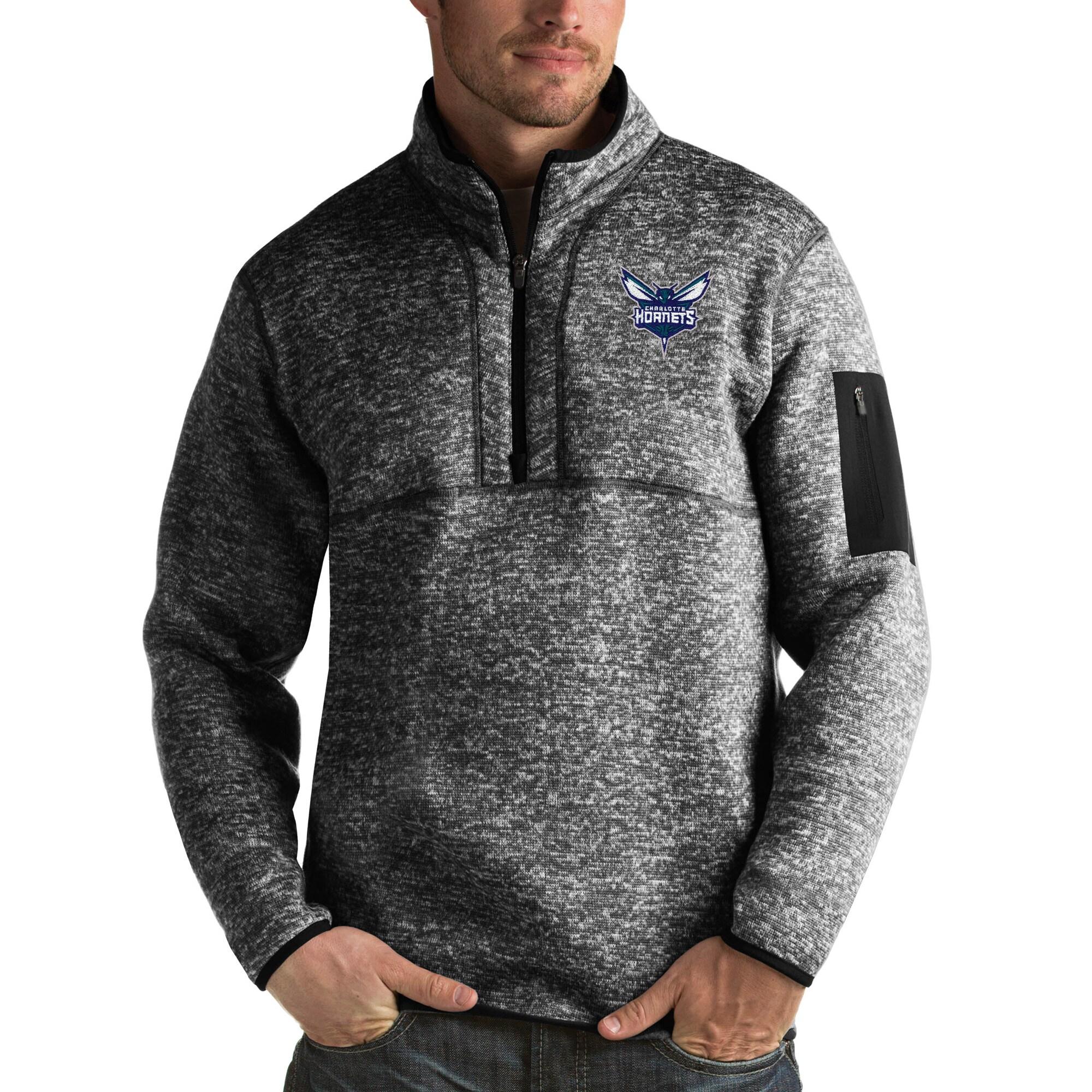 Charlotte Hornets Antigua Fortune Big & Tall Quarter-Zip Pullover Jacket - Heather Black