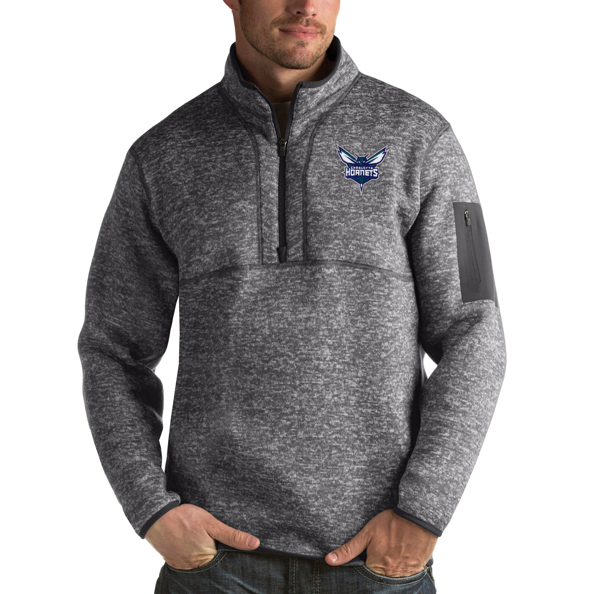 Charlotte Hornets Antigua Fortune Big & Tall Quarter-Zip Pullover Jacket - Charcoal