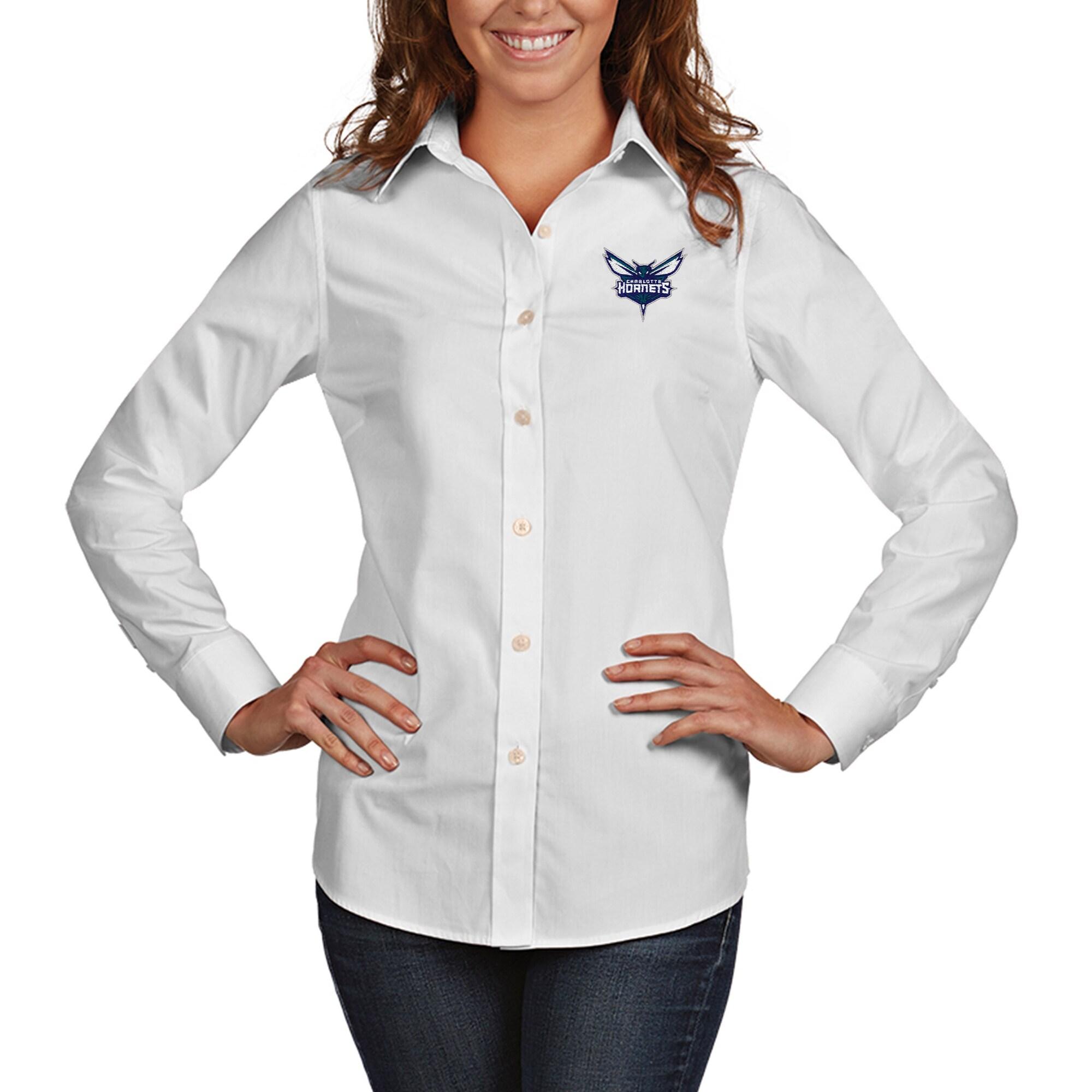 Charlotte Hornets Antigua Women's Dynasty Woven Button-Up Long Sleeve Shirt - White