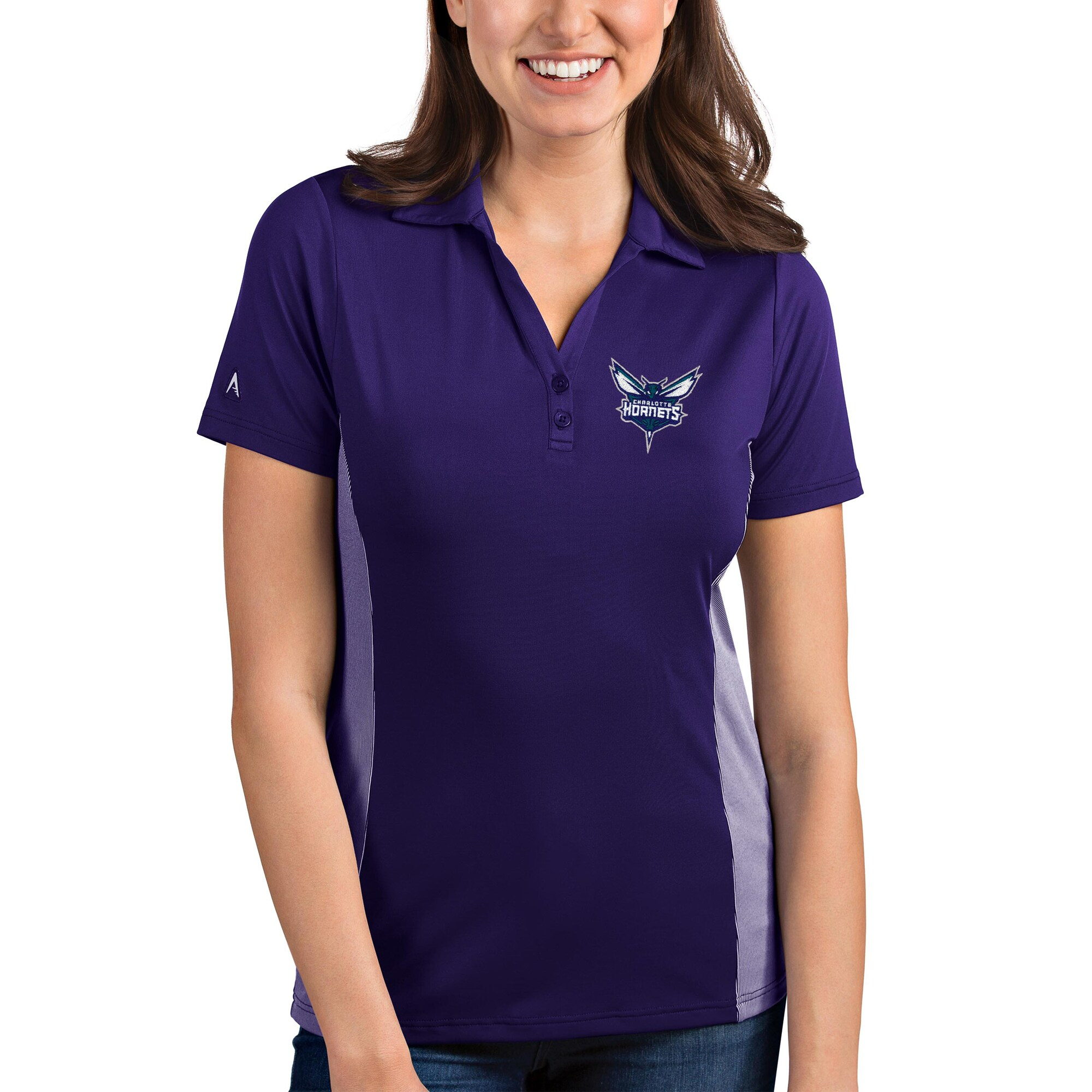 Charlotte Hornets Antigua Women's Venture Polo - Purple/White