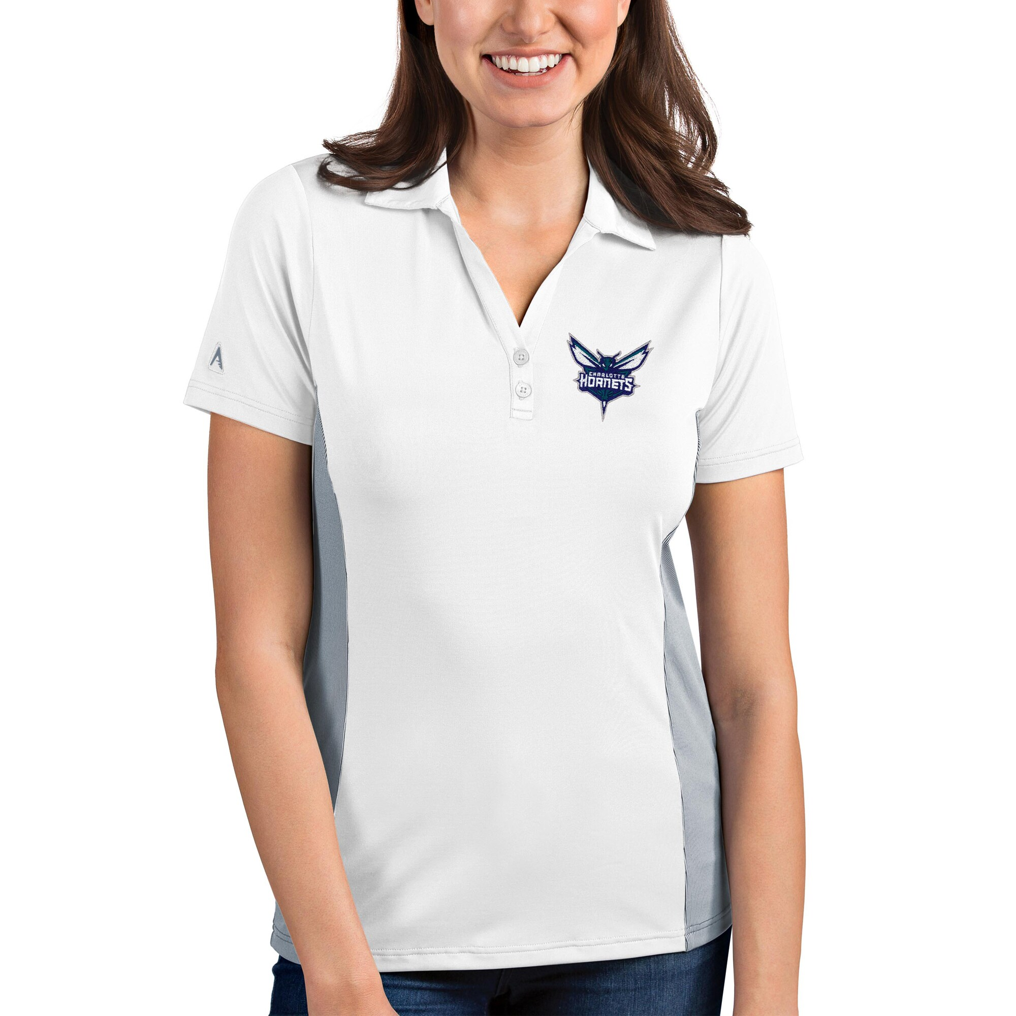 Charlotte Hornets Antigua Women's Venture Polo - White/Gray