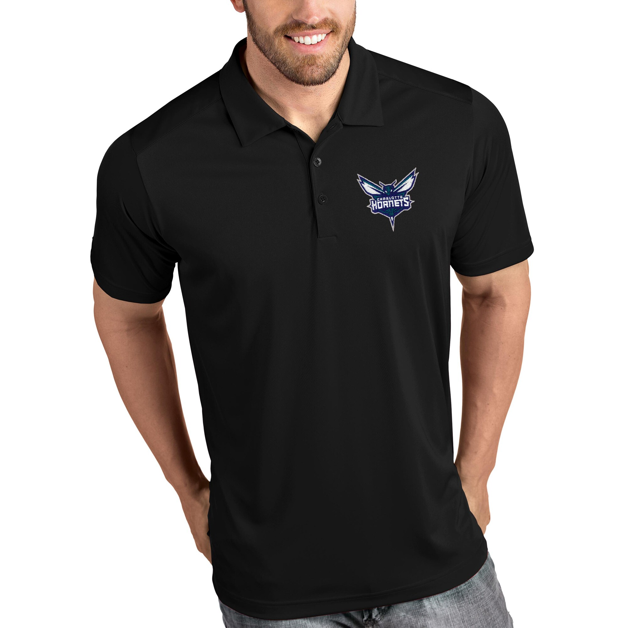 Charlotte Hornets Antigua Tribute Polo - Black