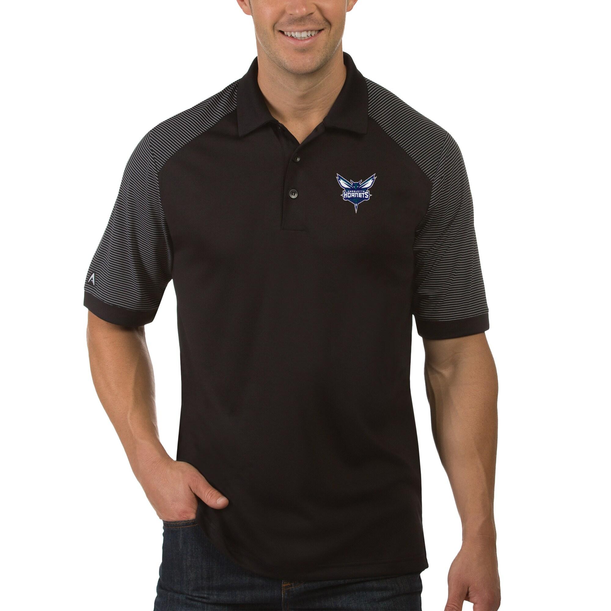 Charlotte Hornets Antigua Engage Polo - Black