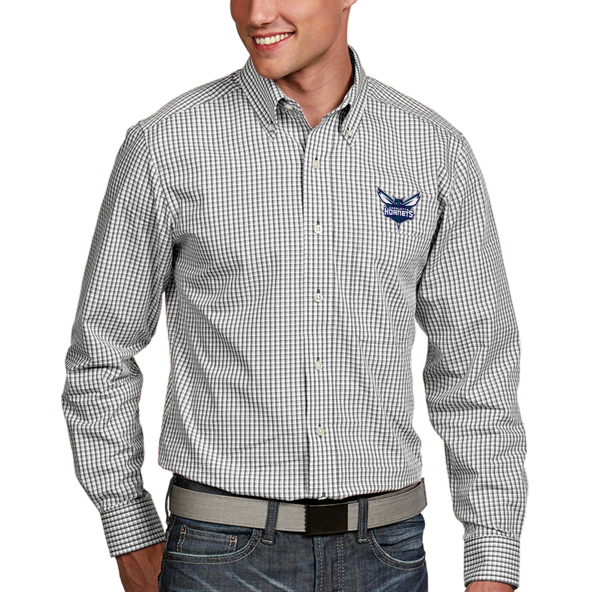 Charlotte Hornets Antigua Associate Button-Down Long Sleeve Shirt - White
