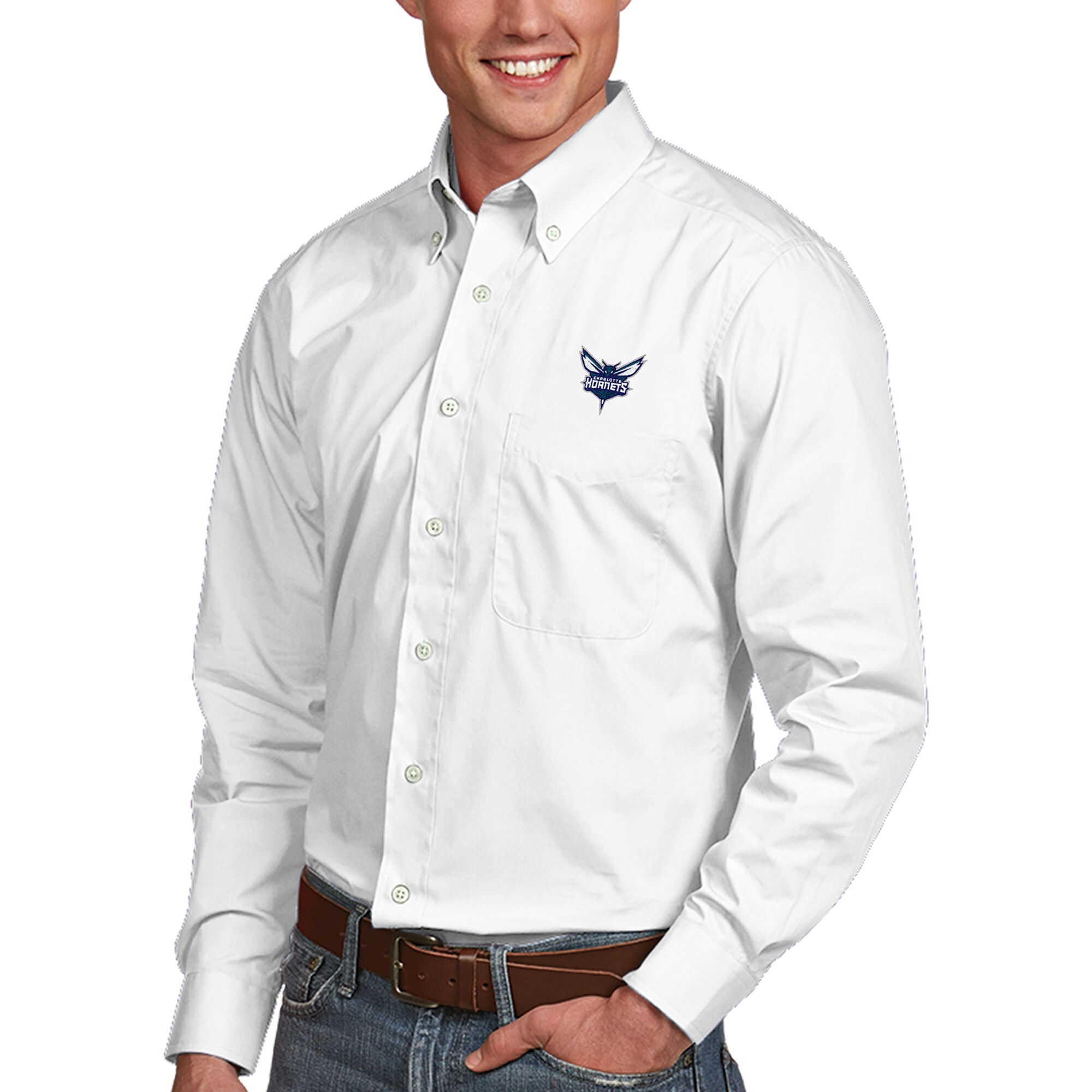 Charlotte Hornets Antigua Dynasty Button-Down Long Sleeve Shirt - White