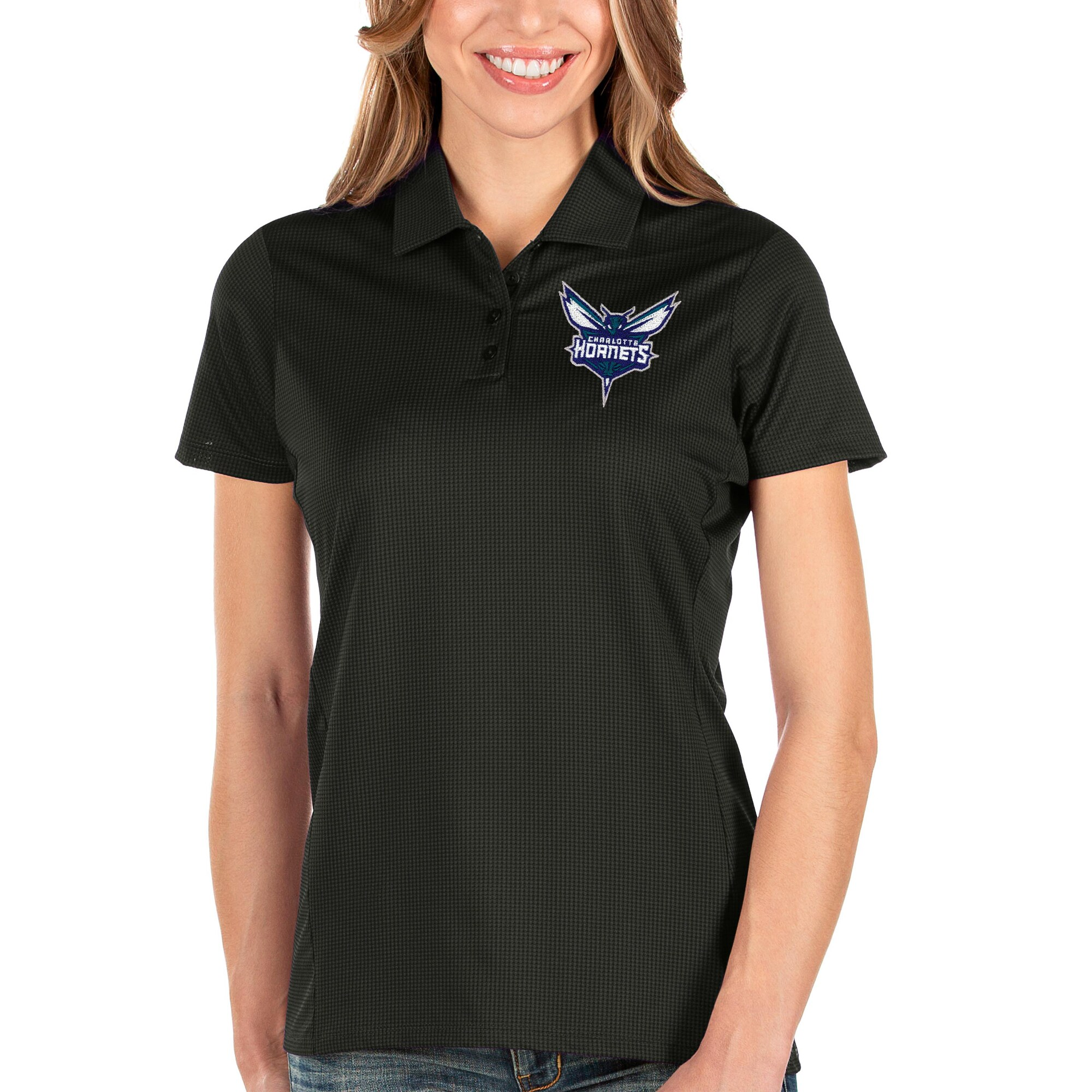 Charlotte Hornets Antigua Women's Balance Polo - Black