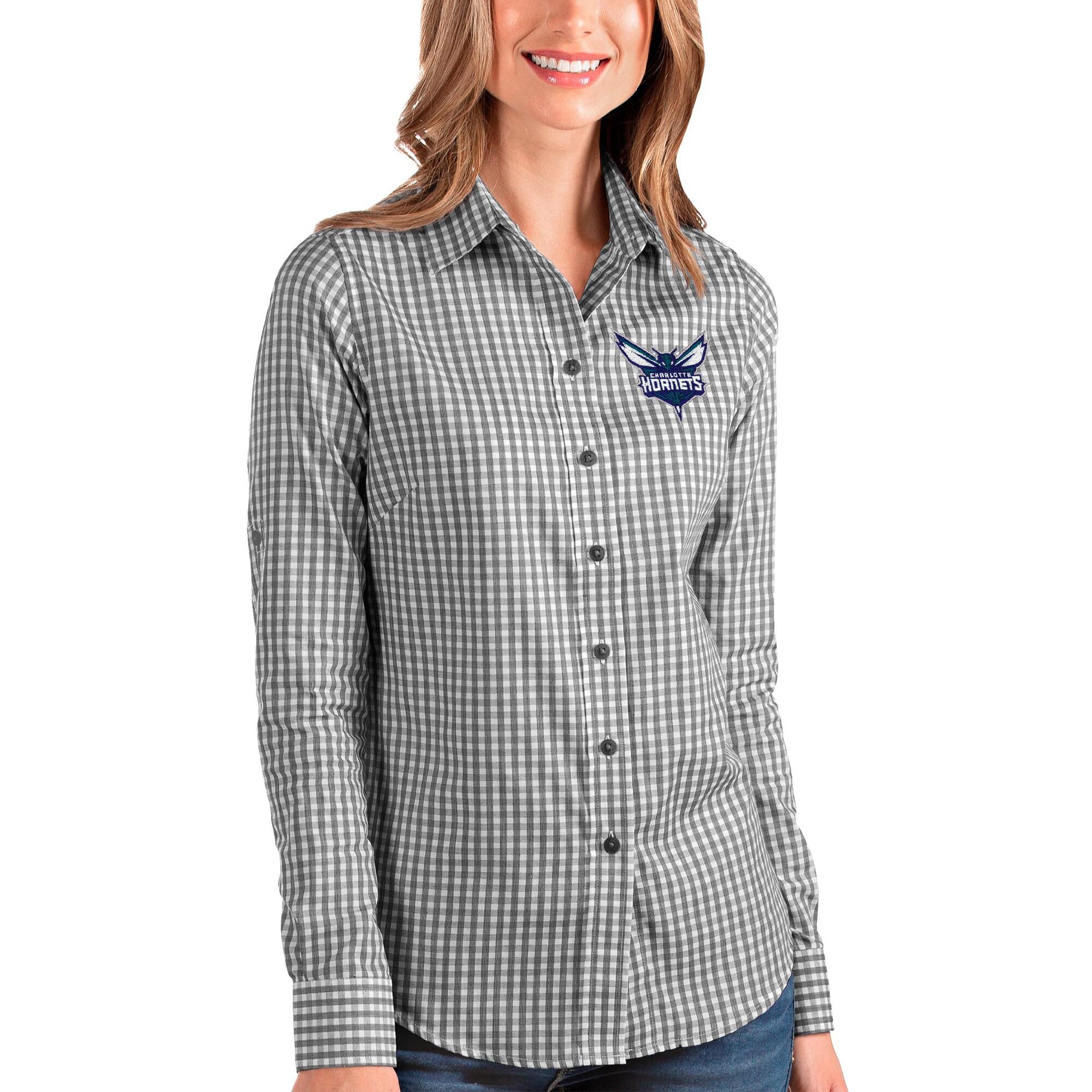 Charlotte Hornets Antigua Women's Structure Button-Up Long Sleeve Shirt - Black/White