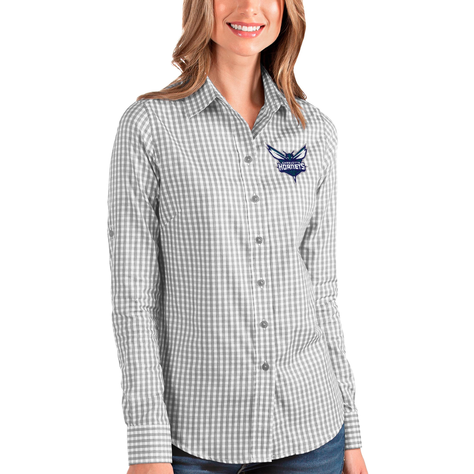 Charlotte Hornets Antigua Women's Structure Button-Up Long Sleeve Shirt - Charcoal/White