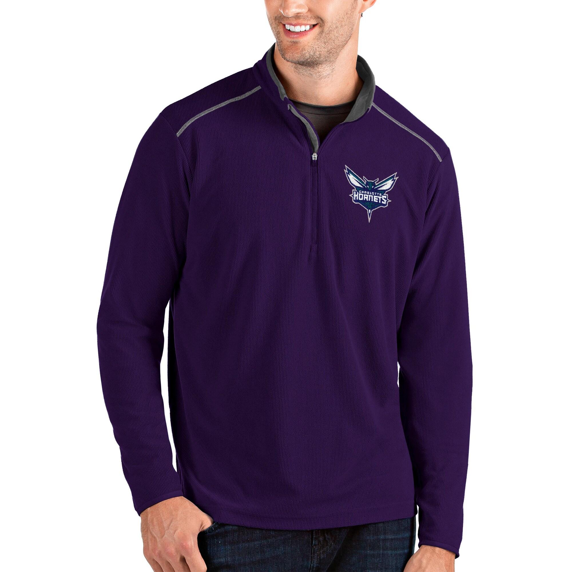 Charlotte Hornets Antigua Glacier Quarter-Zip Pullover Jacket - Purple/Gray