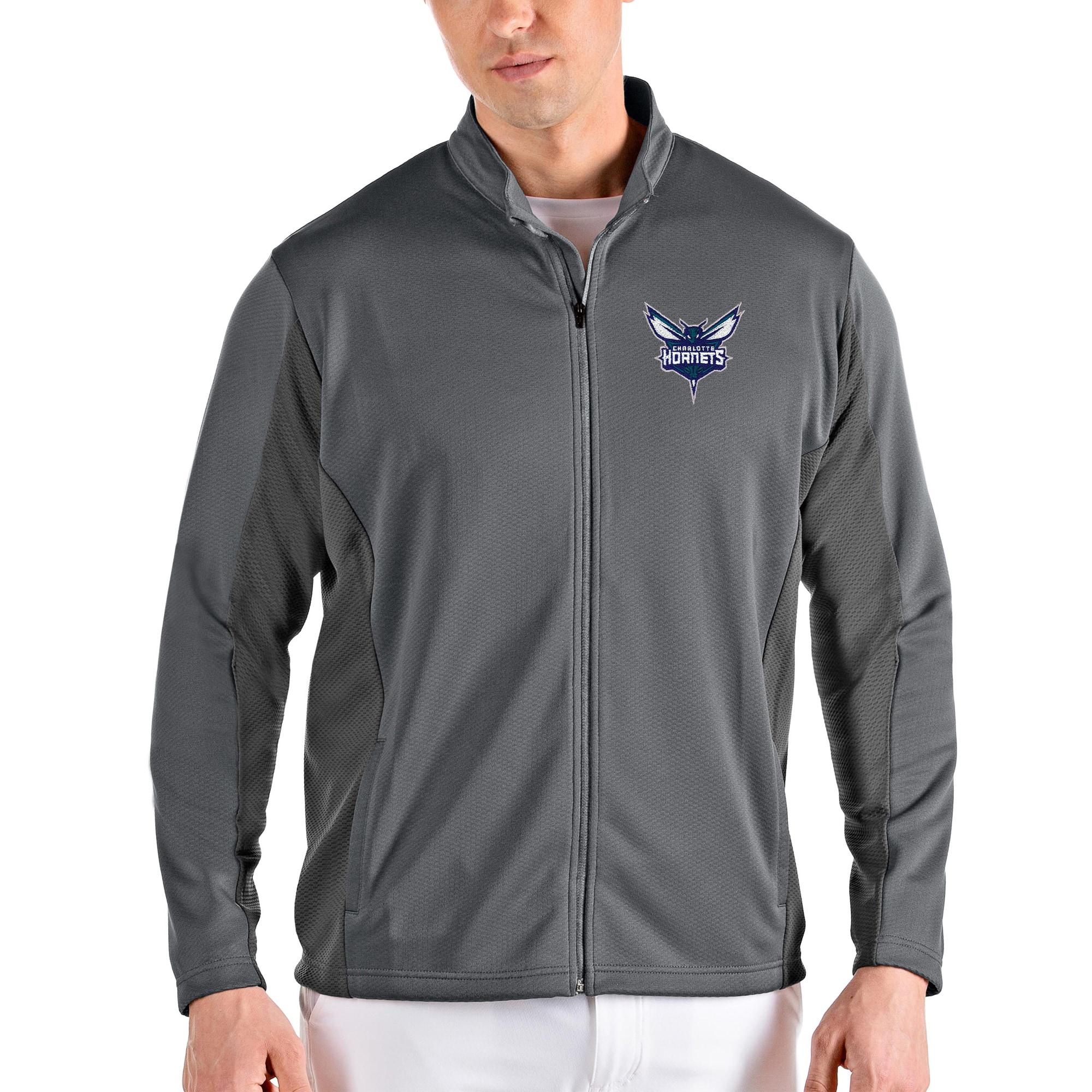 Charlotte Hornets Antigua Passage Full-Zip Jacket - Charcoal/Gray