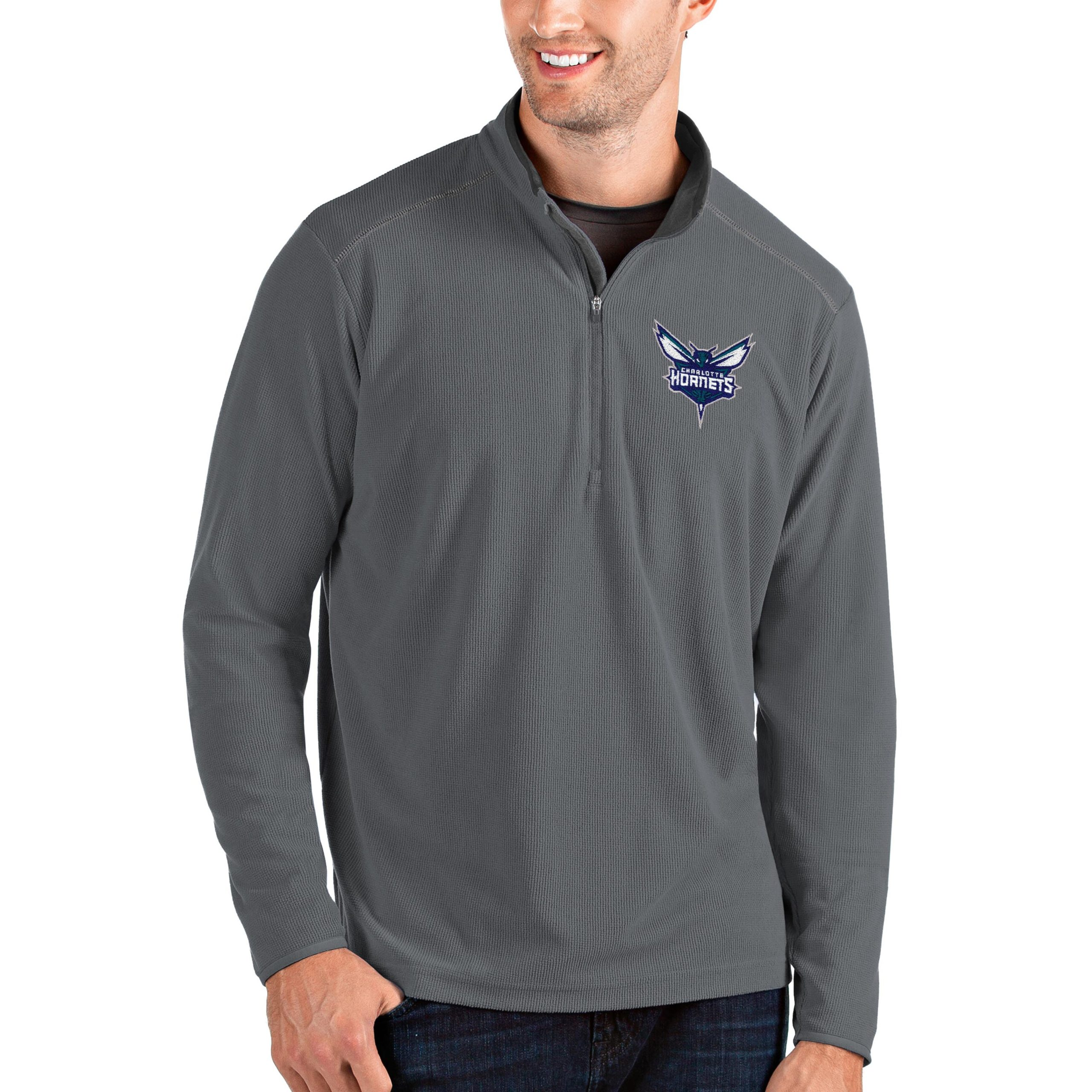 Charlotte Hornets Antigua Big & Tall Glacier Quarter-Zip Pullover Jacket - Gray/Gray