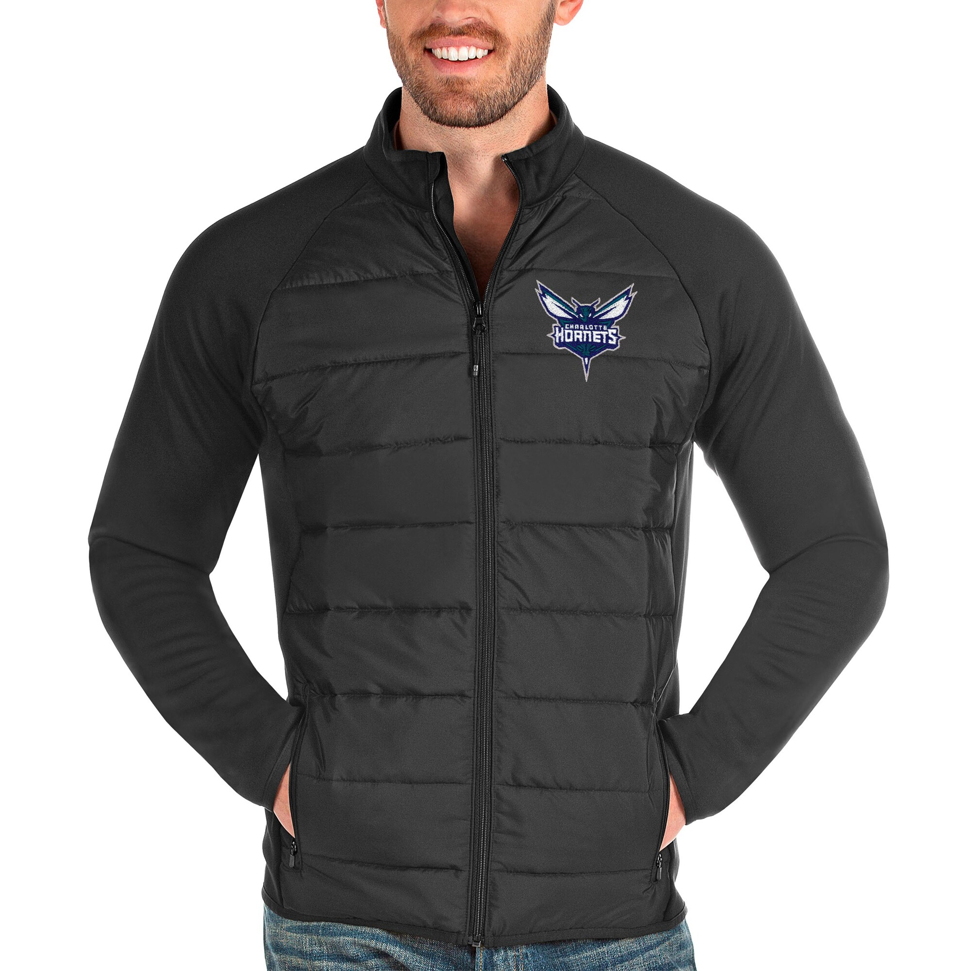 Charlotte Hornets Antigua Altitude Full-Zip Jacket - Charcoal