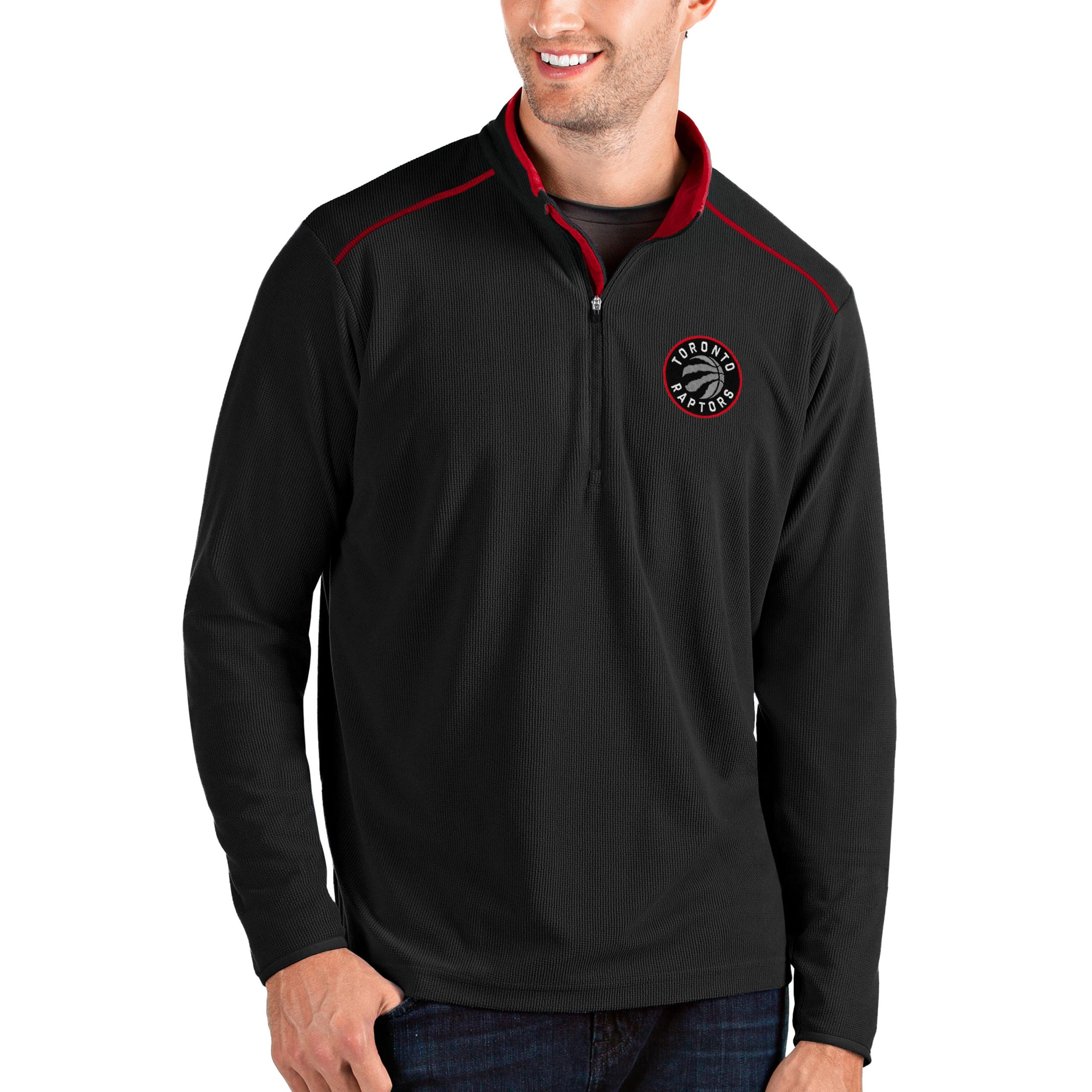 Toronto Raptors Antigua Big & Tall Glacier Quarter-Zip Pullover Jacket - Black/Red