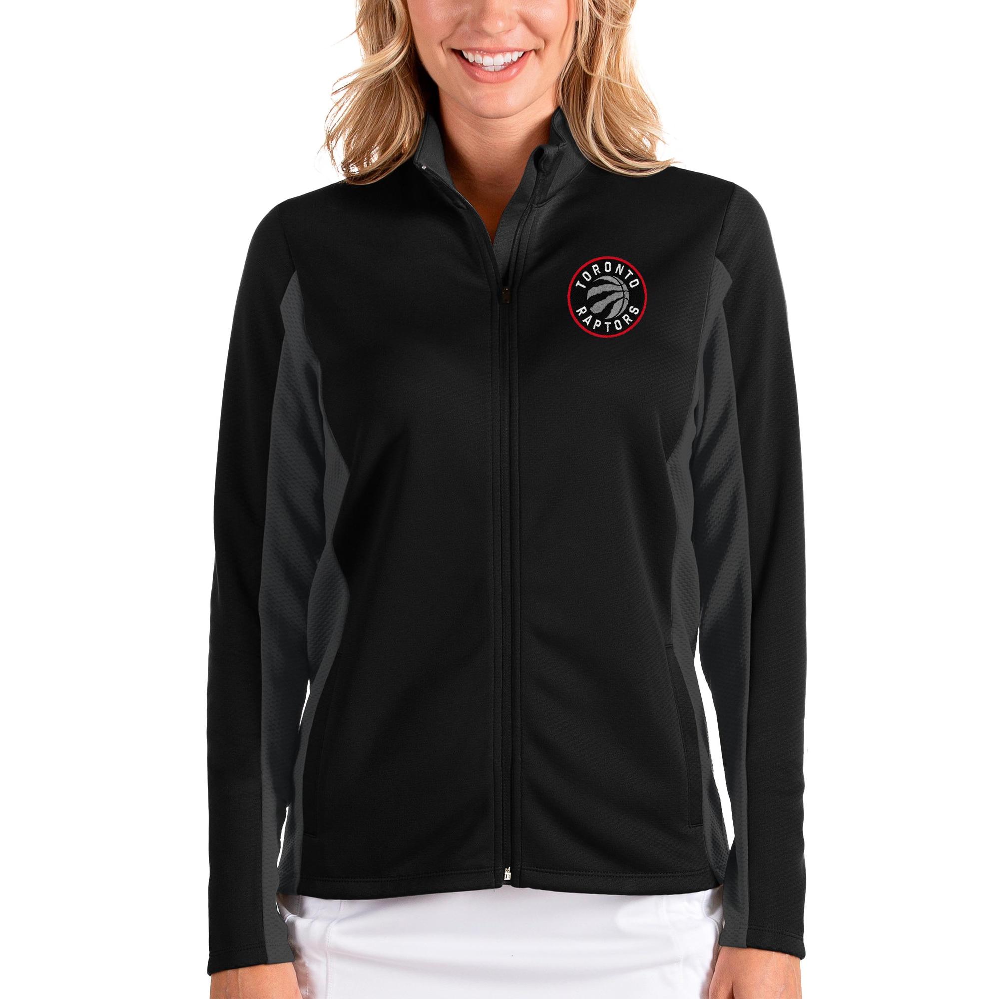 Toronto Raptors Antigua Women's Passage Full-Zip Jacket - Black/Charcoal