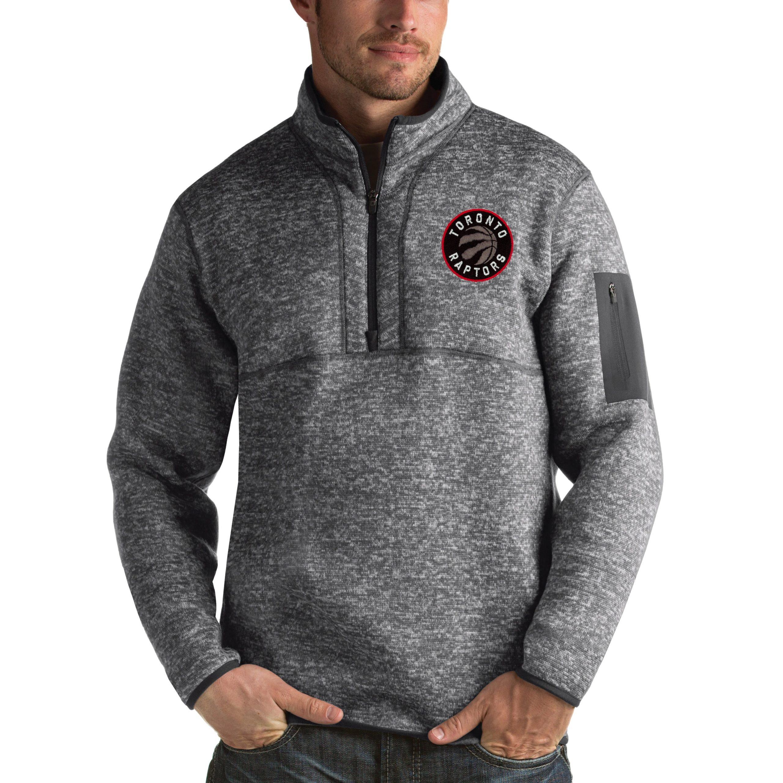 Toronto Raptors Antigua Fortune 1/2-Zip Pullover Jacket - Heathered Black