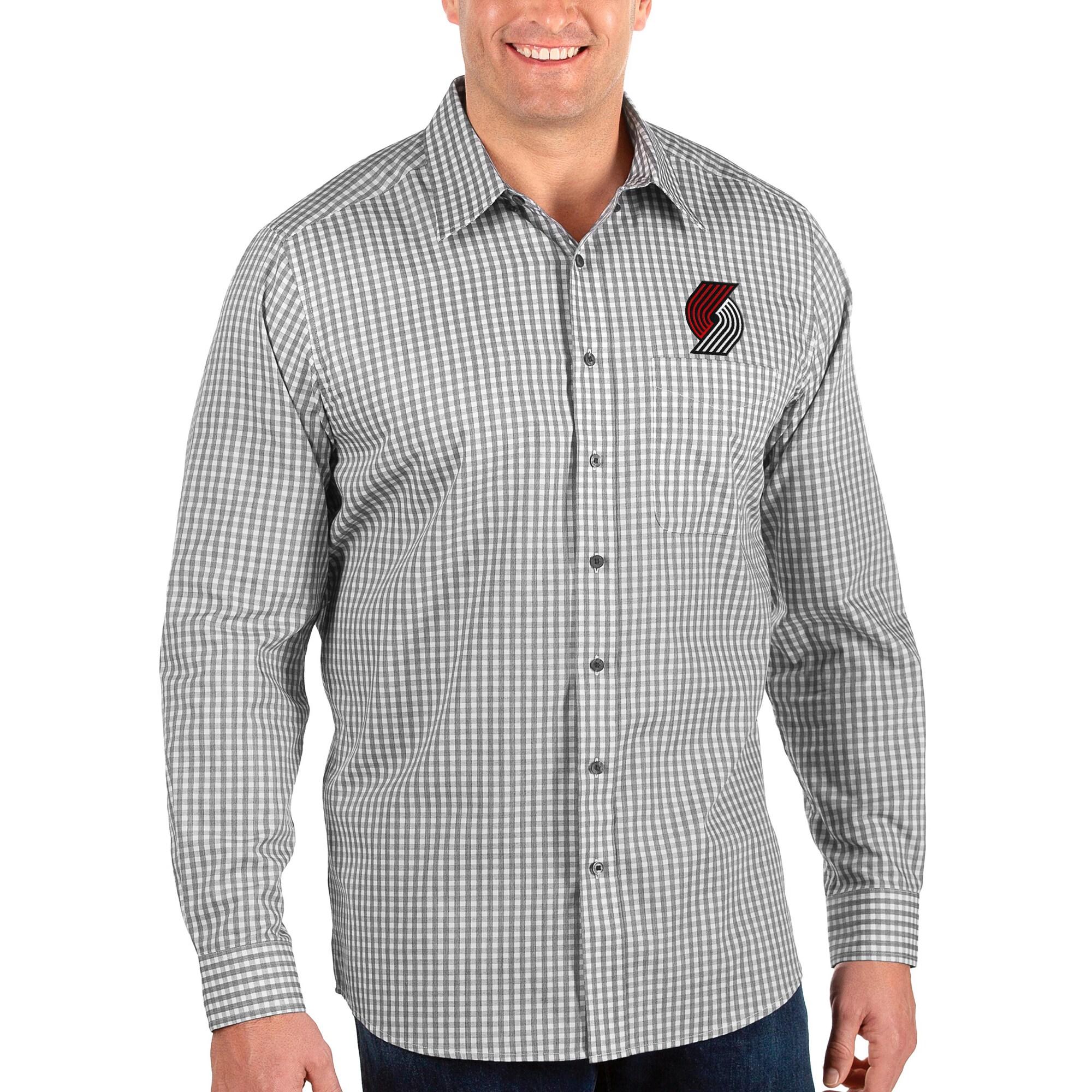 Portland Trail Blazers Antigua Big & Tall Structure Long Sleeve Button-Up Shirt - Black/White