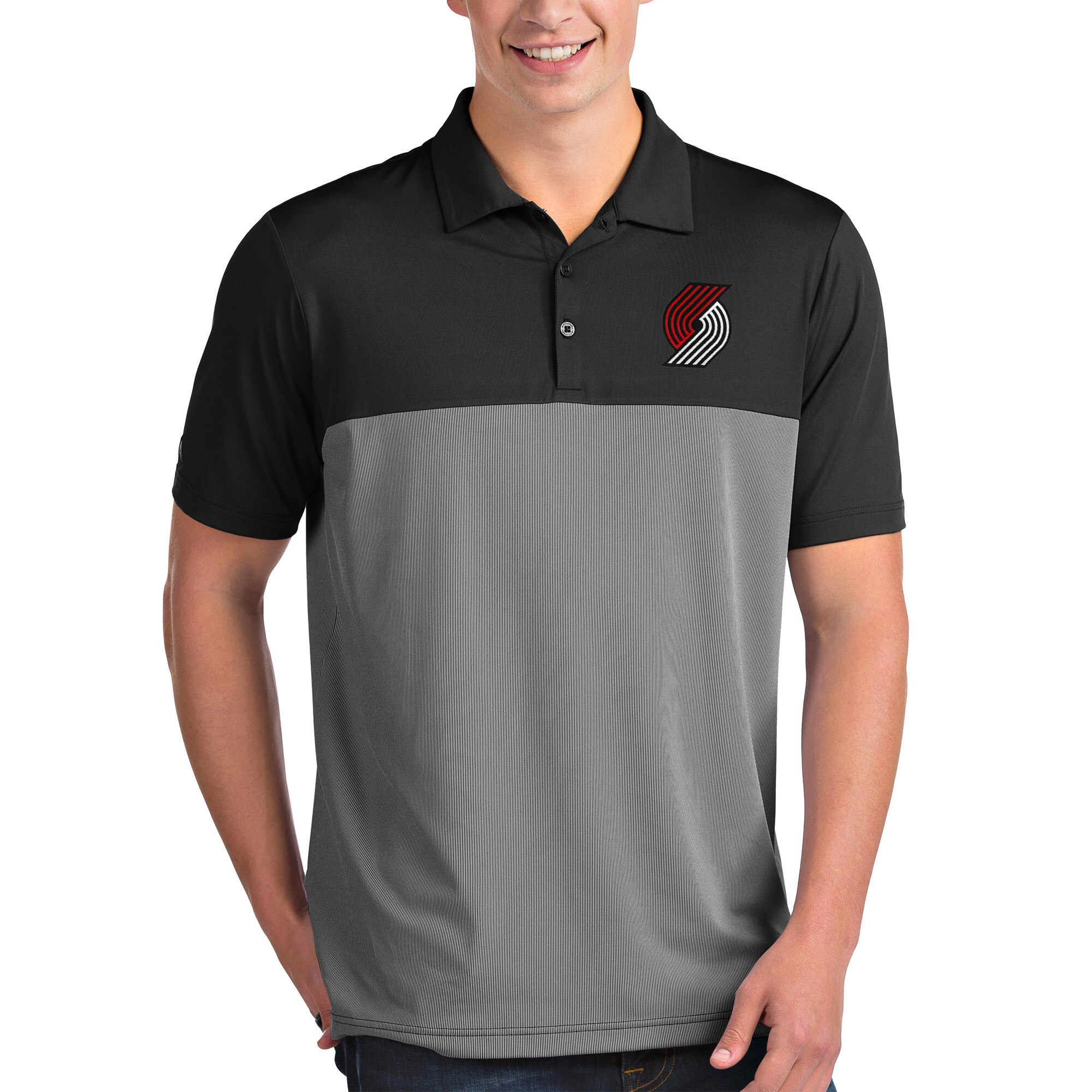 Portland Trail Blazers Antigua Venture Polo - Black/White