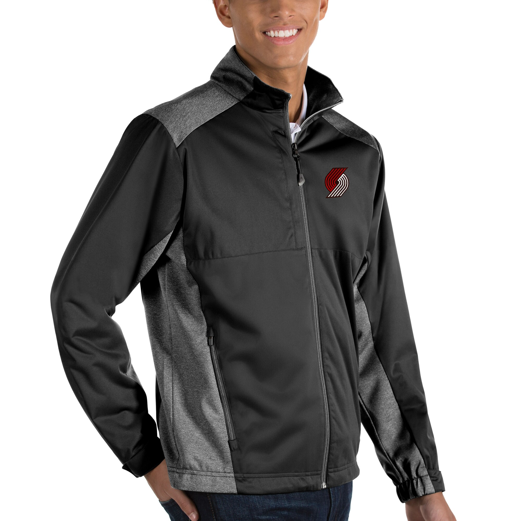 Portland Trail Blazers Antigua Revolve Full-Zip Jacket - Black