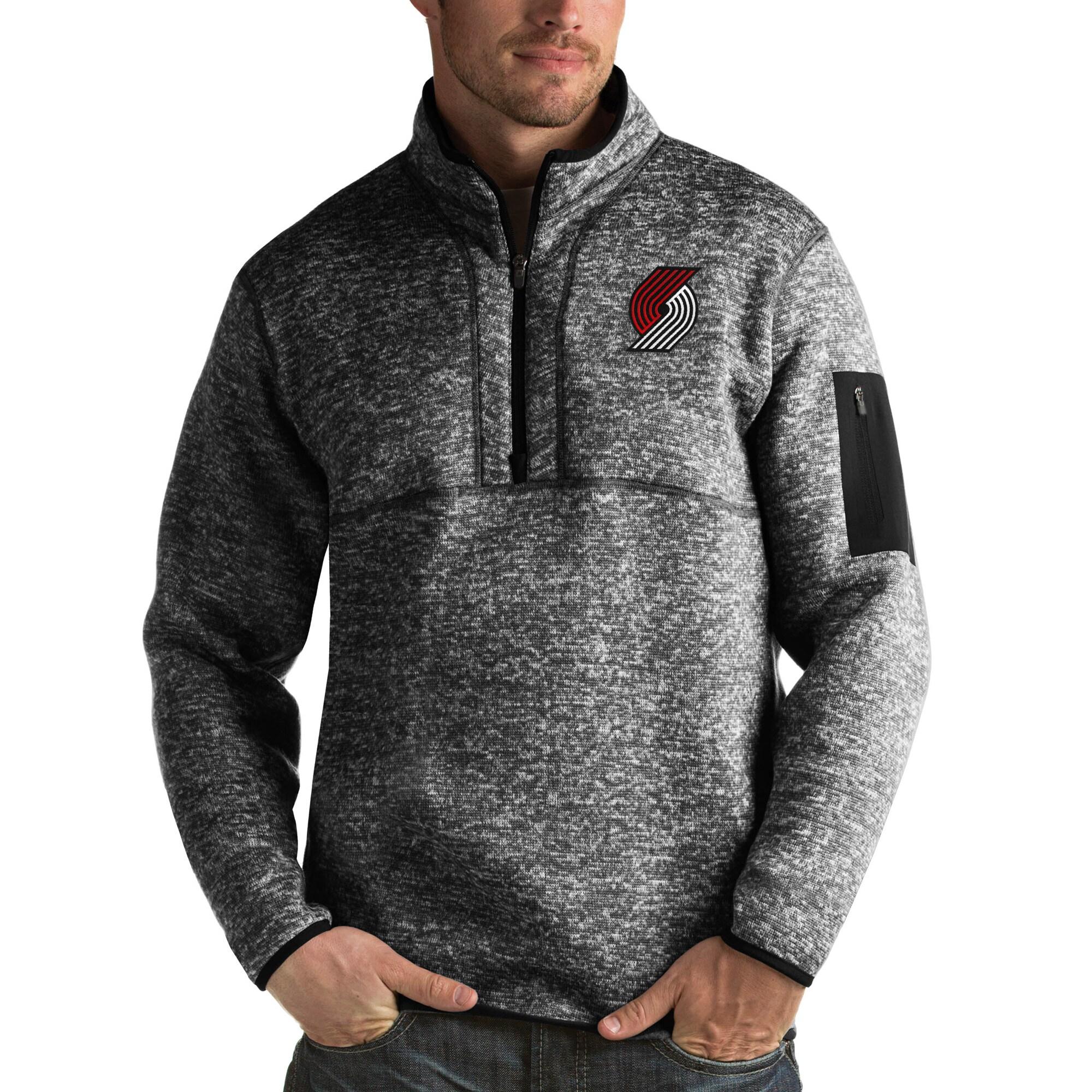 Portland Trail Blazers Antigua Fortune Big & Tall Quarter-Zip Pullover Jacket - Heather Black