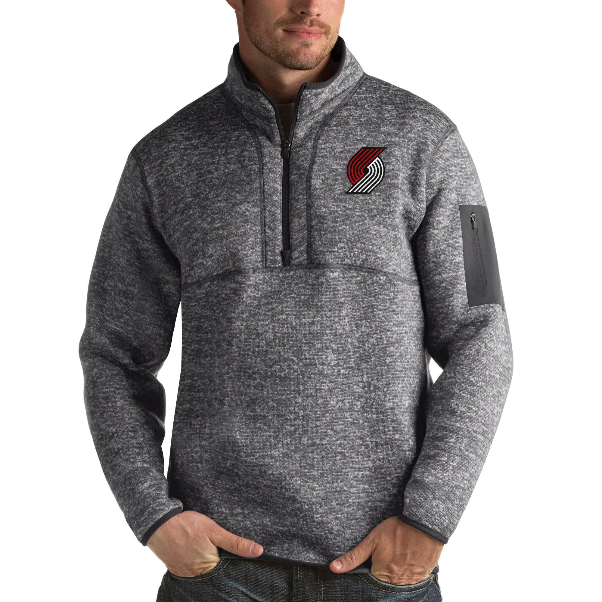 Portland Trail Blazers Antigua Fortune Big & Tall Quarter-Zip Pullover Jacket - Charcoal