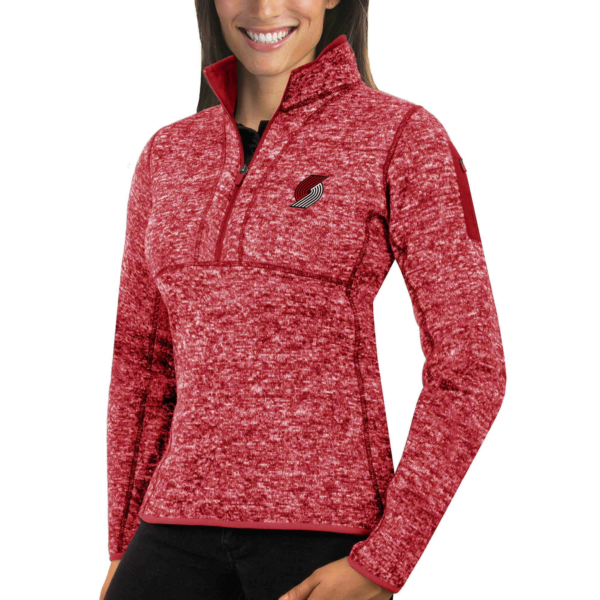 Portland Trail Blazers Antigua Women's Fortune Half-Zip Pullover Jacket - Heather Red