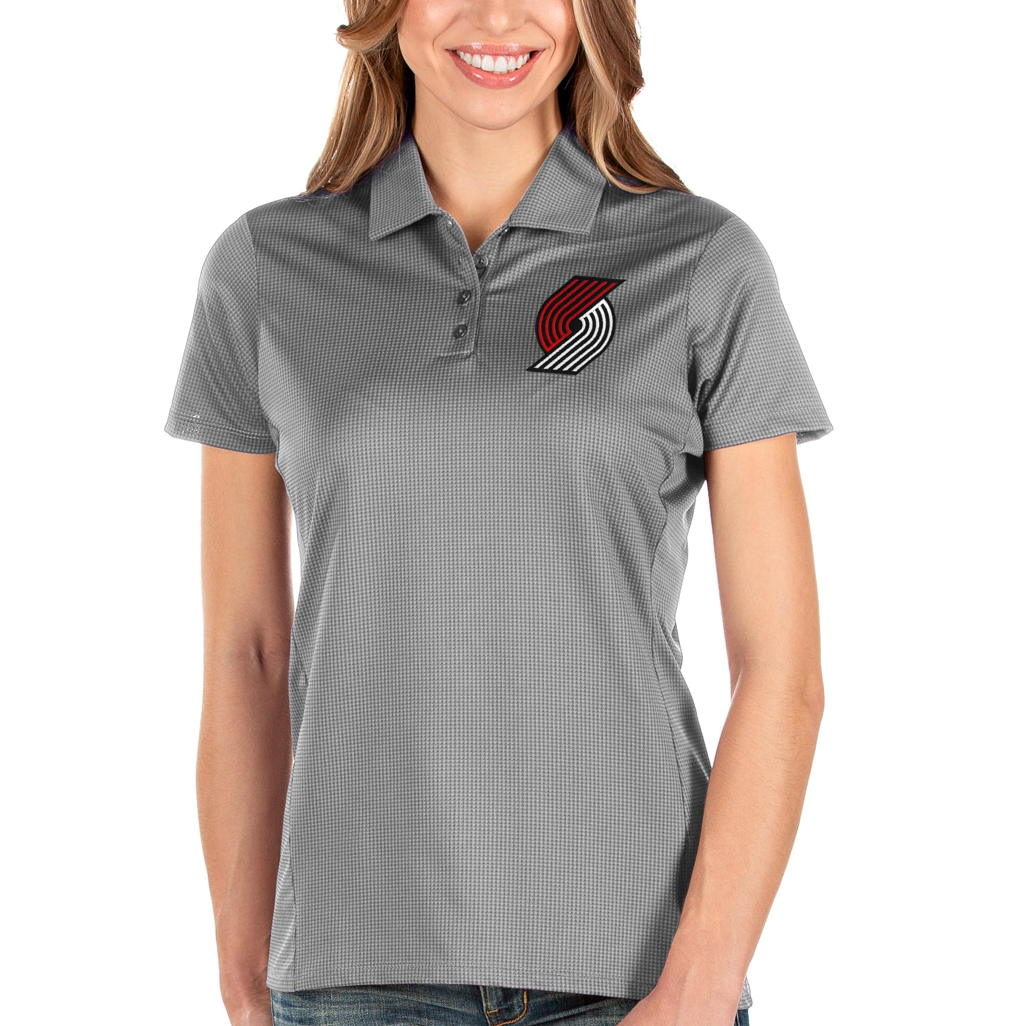 Portland Trail Blazers Antigua Women's Balance Polo - Charcoal