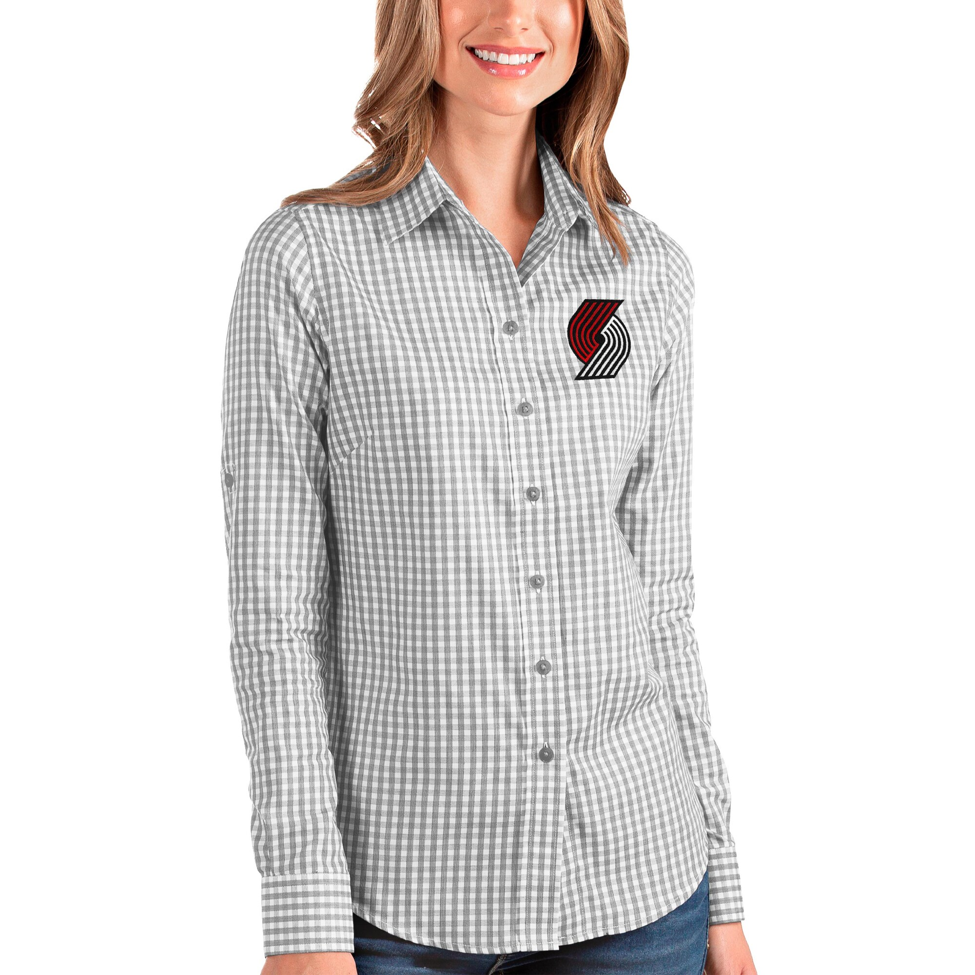 Portland Trail Blazers Antigua Women's Structure Button-Up Long Sleeve Shirt - Charcoal/White