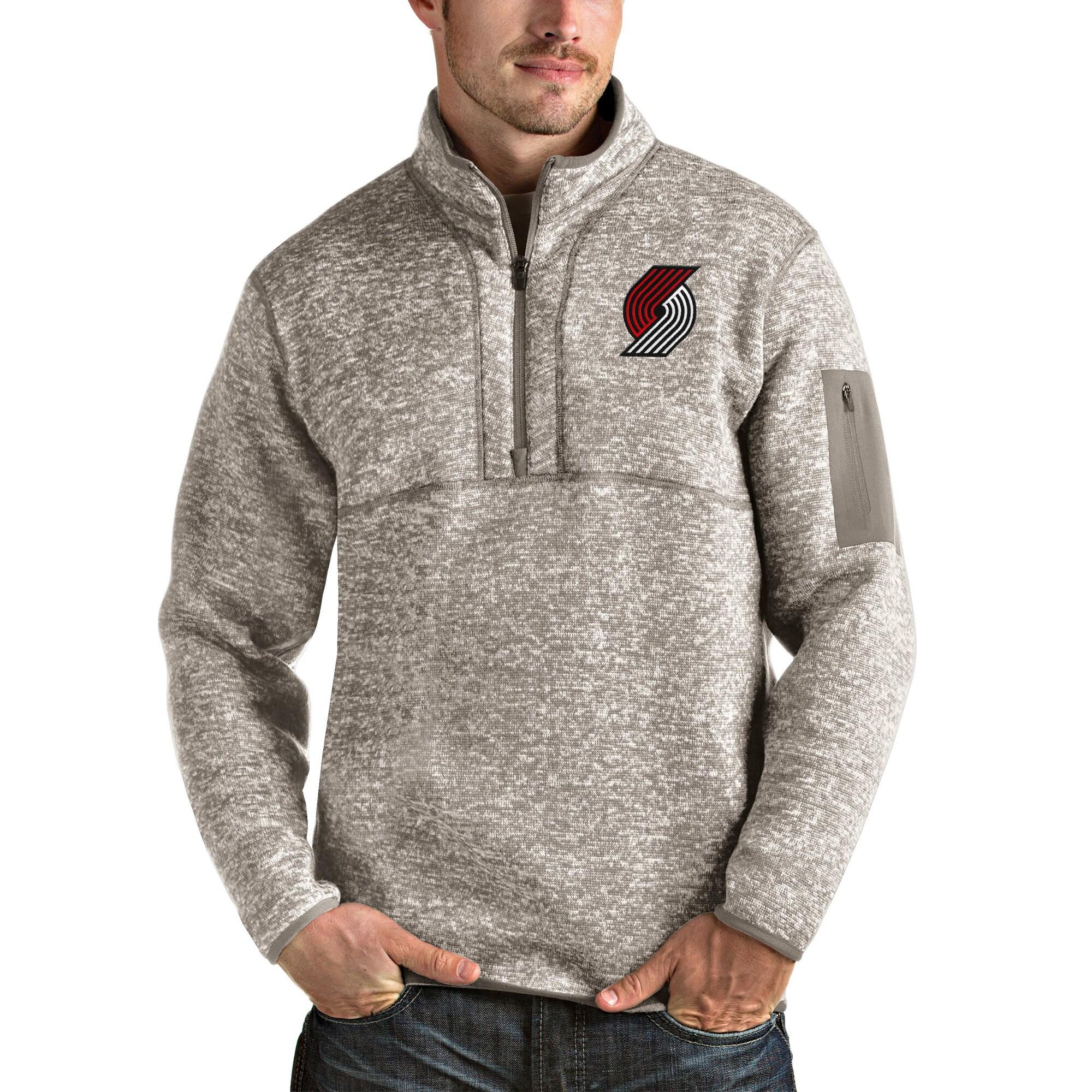 Portland Trail Blazers Antigua Fortune Quarter-Zip Pullover Jacket - Natural