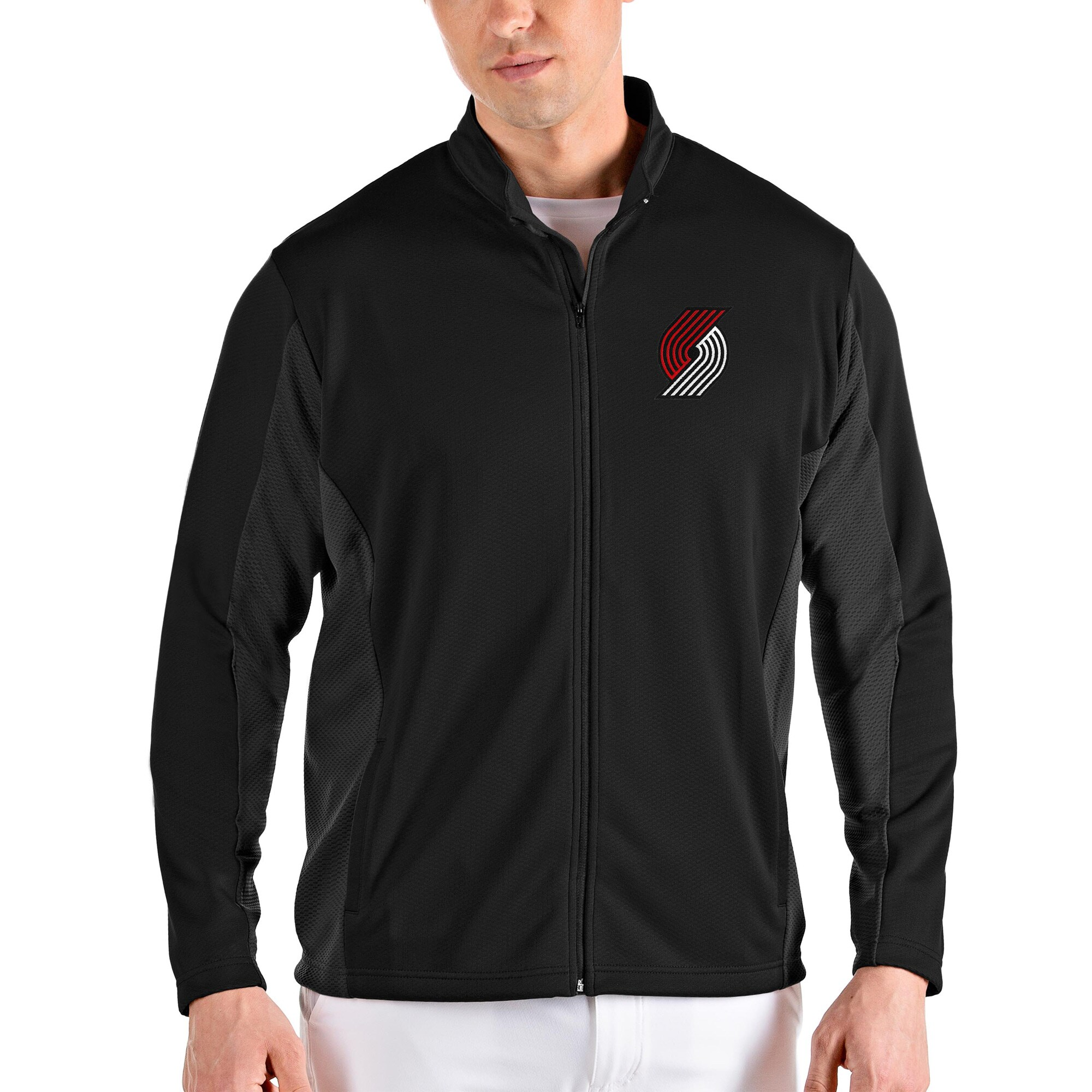Portland Trail Blazers Antigua Passage Full-Zip Jacket - Black/Gray