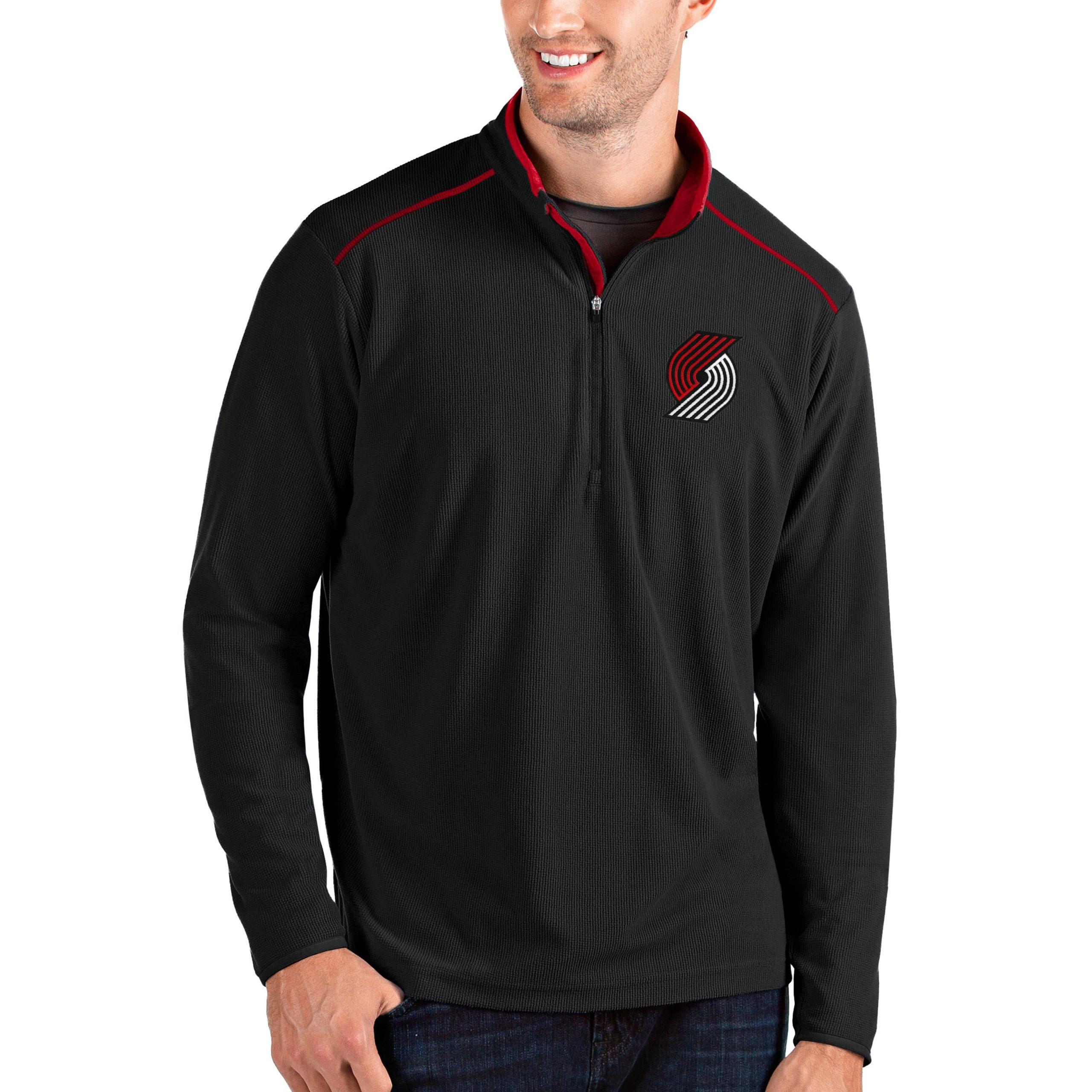 Portland Trail Blazers Antigua Big & Tall Glacier Quarter-Zip Pullover Jacket - Black/Red