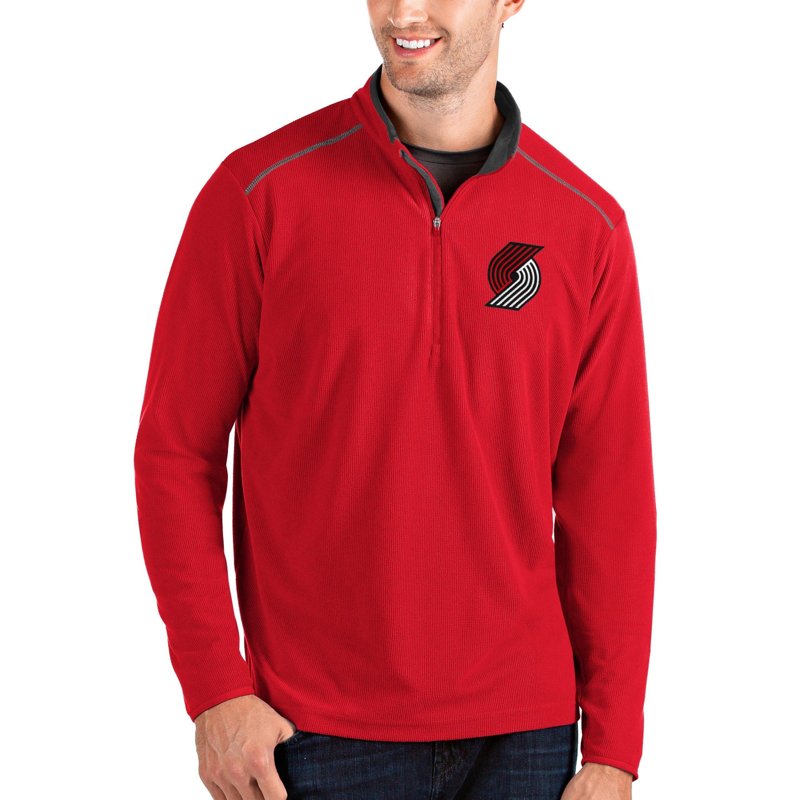 Portland Trail Blazers Antigua Big & Tall Glacier Quarter-Zip Pullover Jacket - Red/Gray