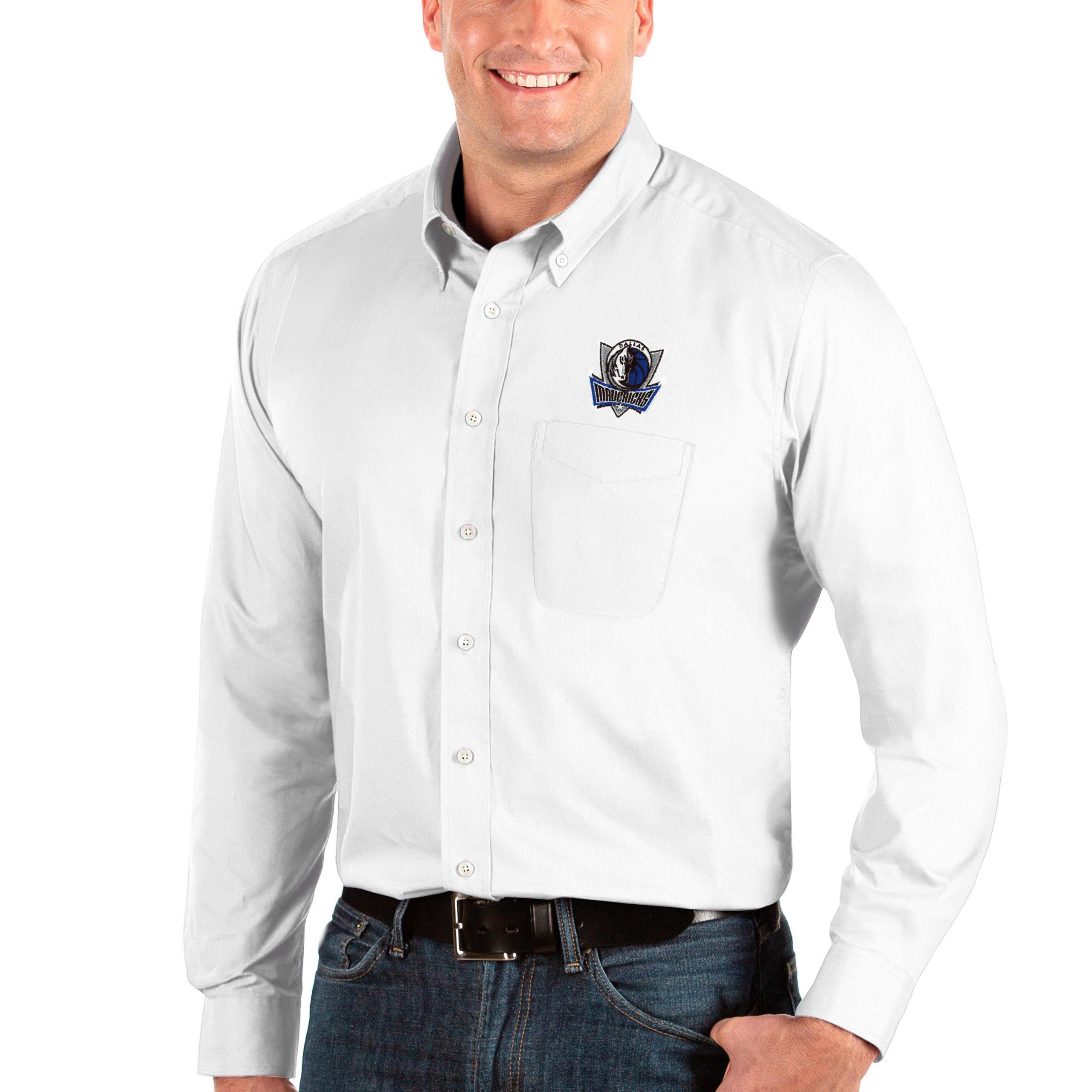 Dallas Mavericks Antigua Big & Tall Dynasty Long Sleeve Button-Down Shirt - White