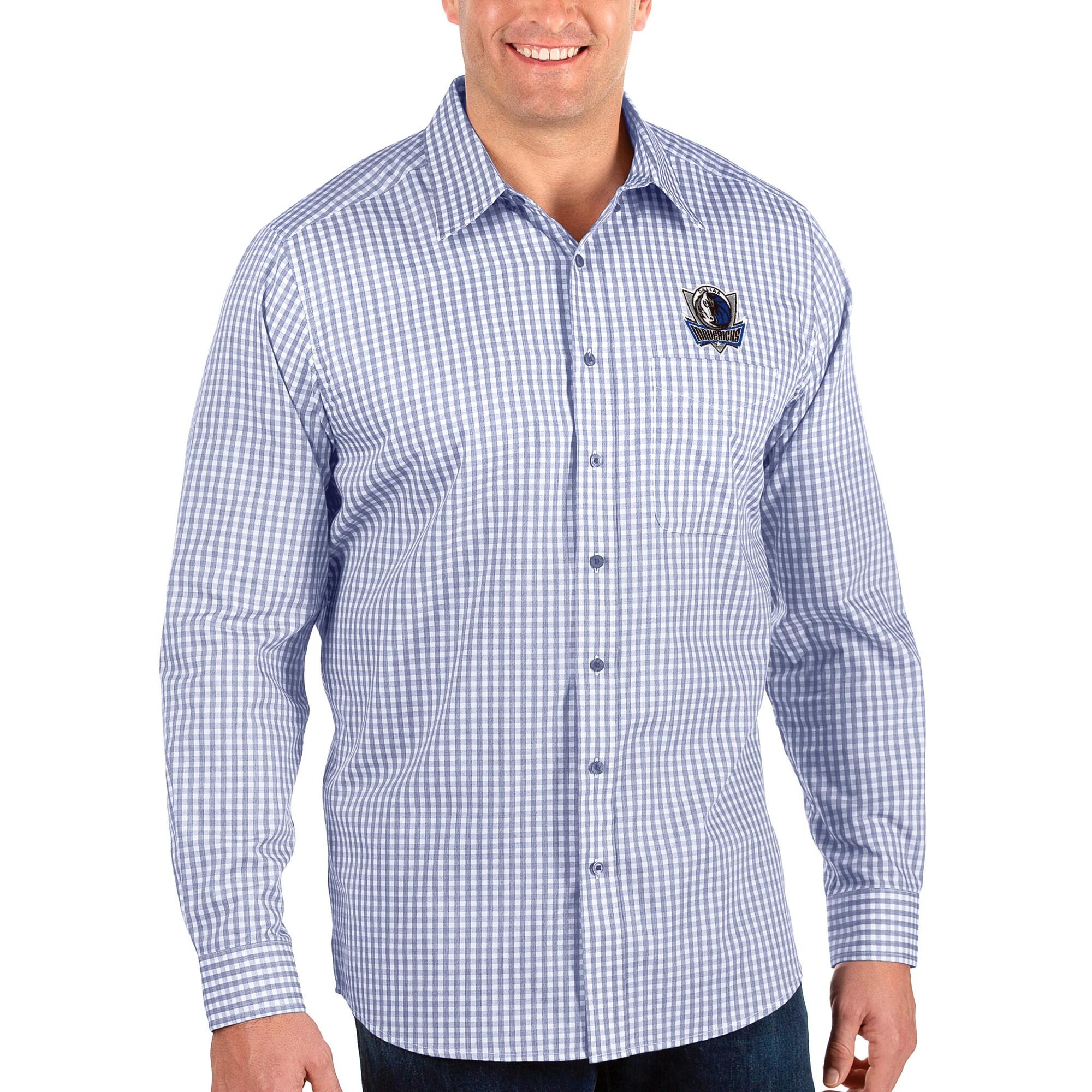 Dallas Mavericks Antigua Big & Tall Structure Long Sleeve Button-Up Shirt - Royal/White
