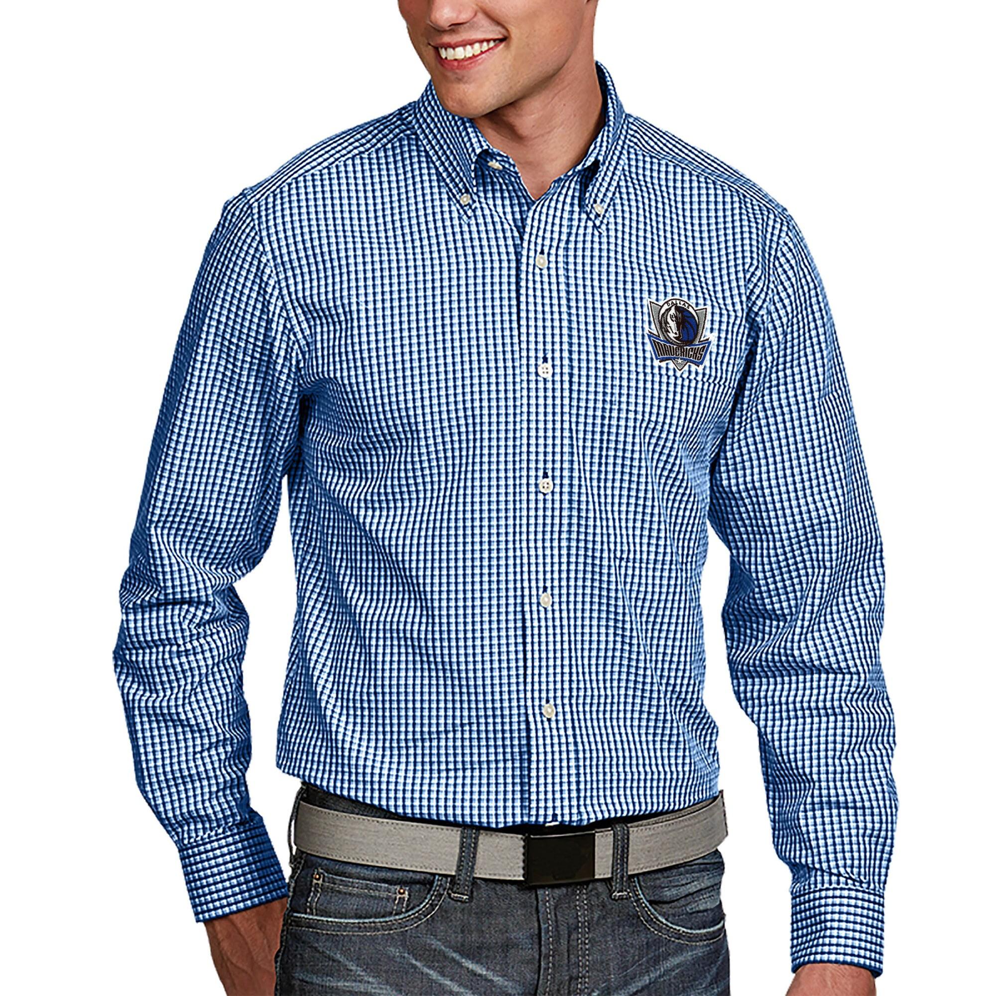 Dallas Mavericks Antigua Associate Big & Tall Woven Long Sleeve Button-Down Shirt - Royal