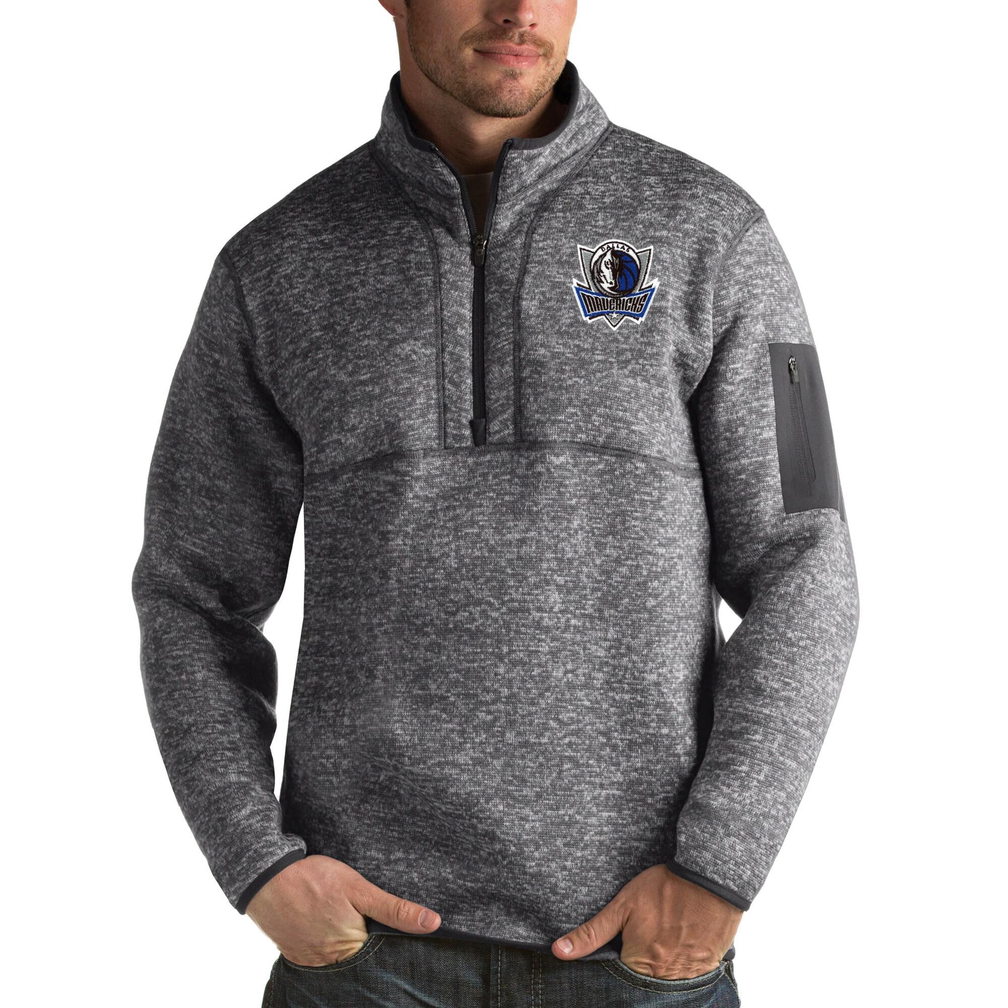 Dallas Mavericks Antigua Fortune Big & Tall Quarter-Zip Pullover Jacket - Charcoal
