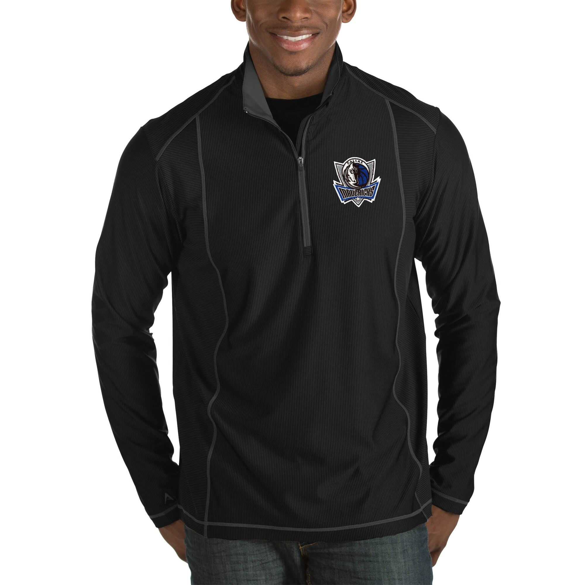 Dallas Mavericks Antigua Tempo Big & Tall Half-Zip Pullover Jacket - Black