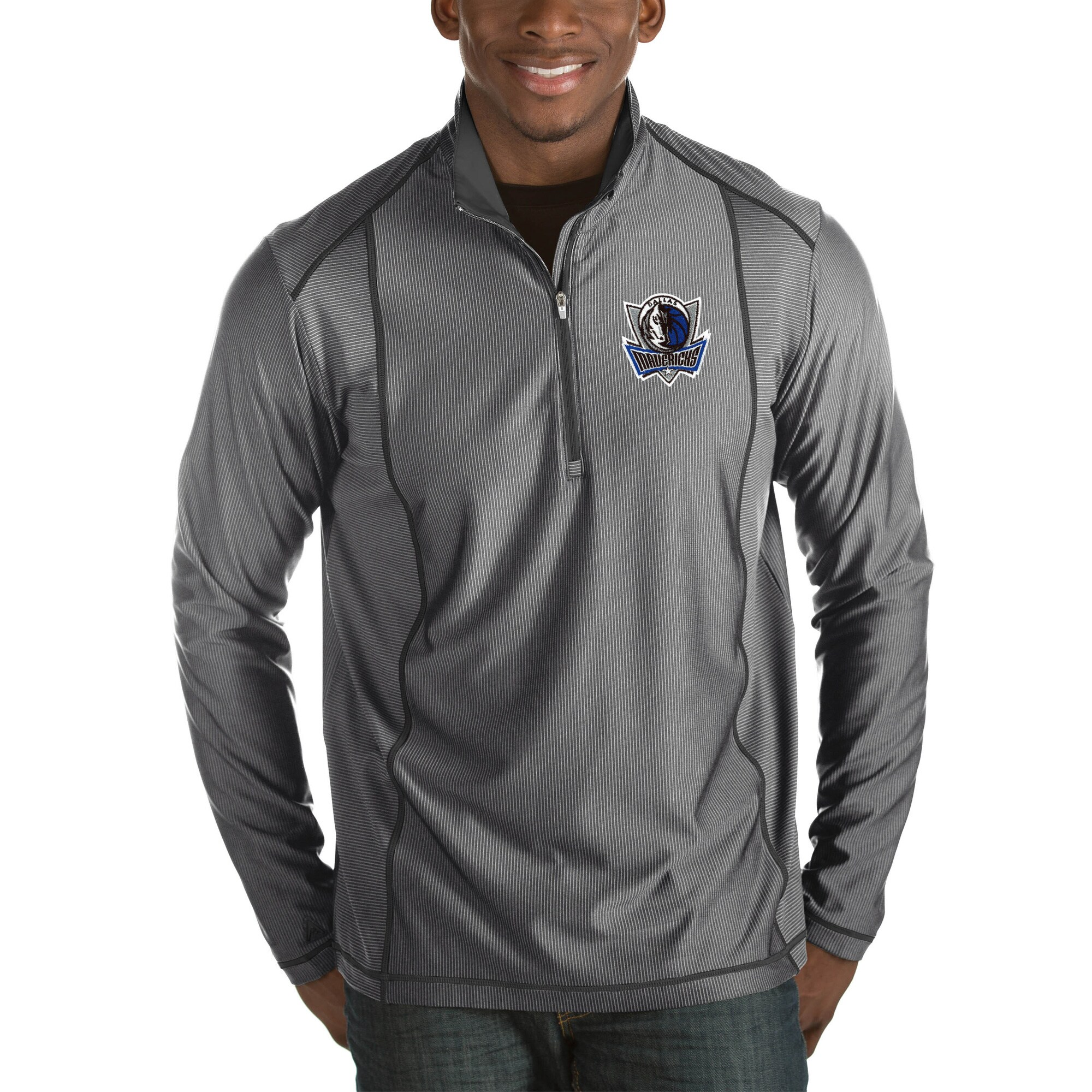 Dallas Mavericks Antigua Tempo Big & Tall Half-Zip Pullover Jacket - Charcoal