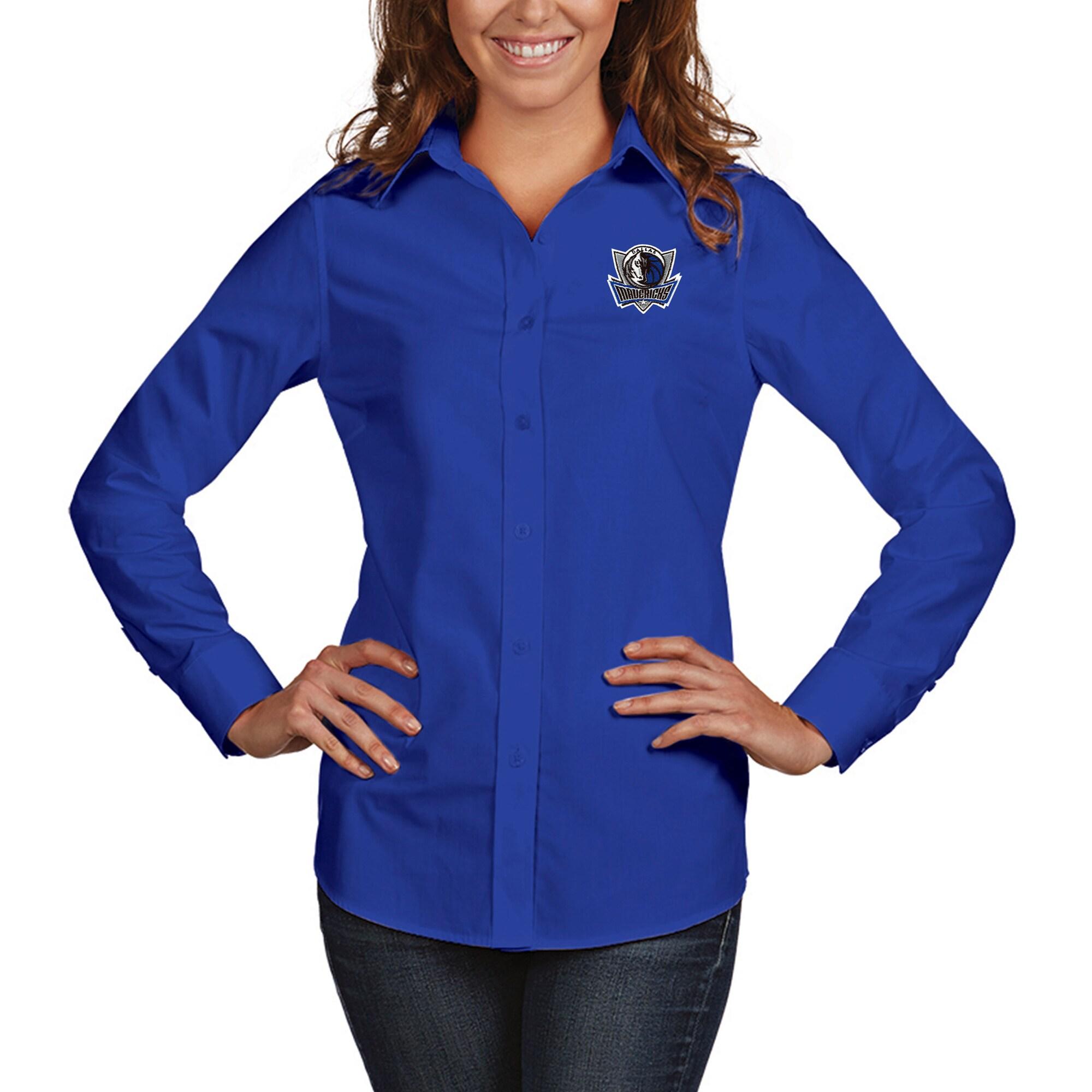 Dallas Mavericks Antigua Women's Dynasty Woven Button-Up Long Sleeve Shirt - Royal