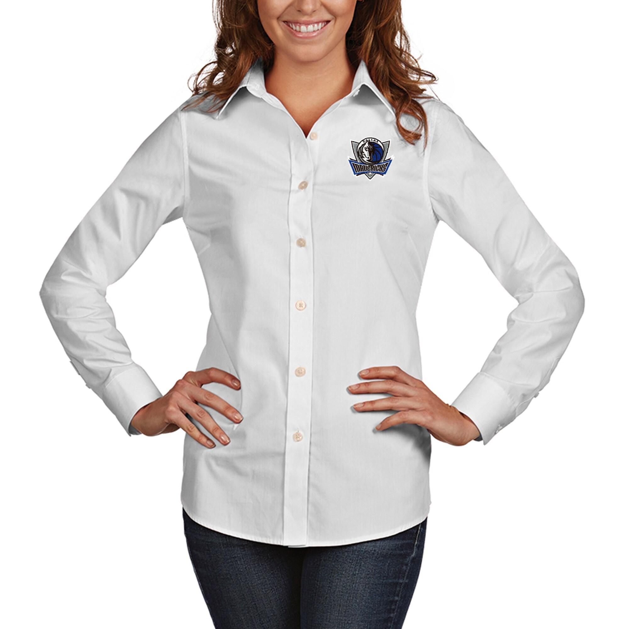 Dallas Mavericks Antigua Women's Dynasty Woven Button-Up Long Sleeve Shirt - White