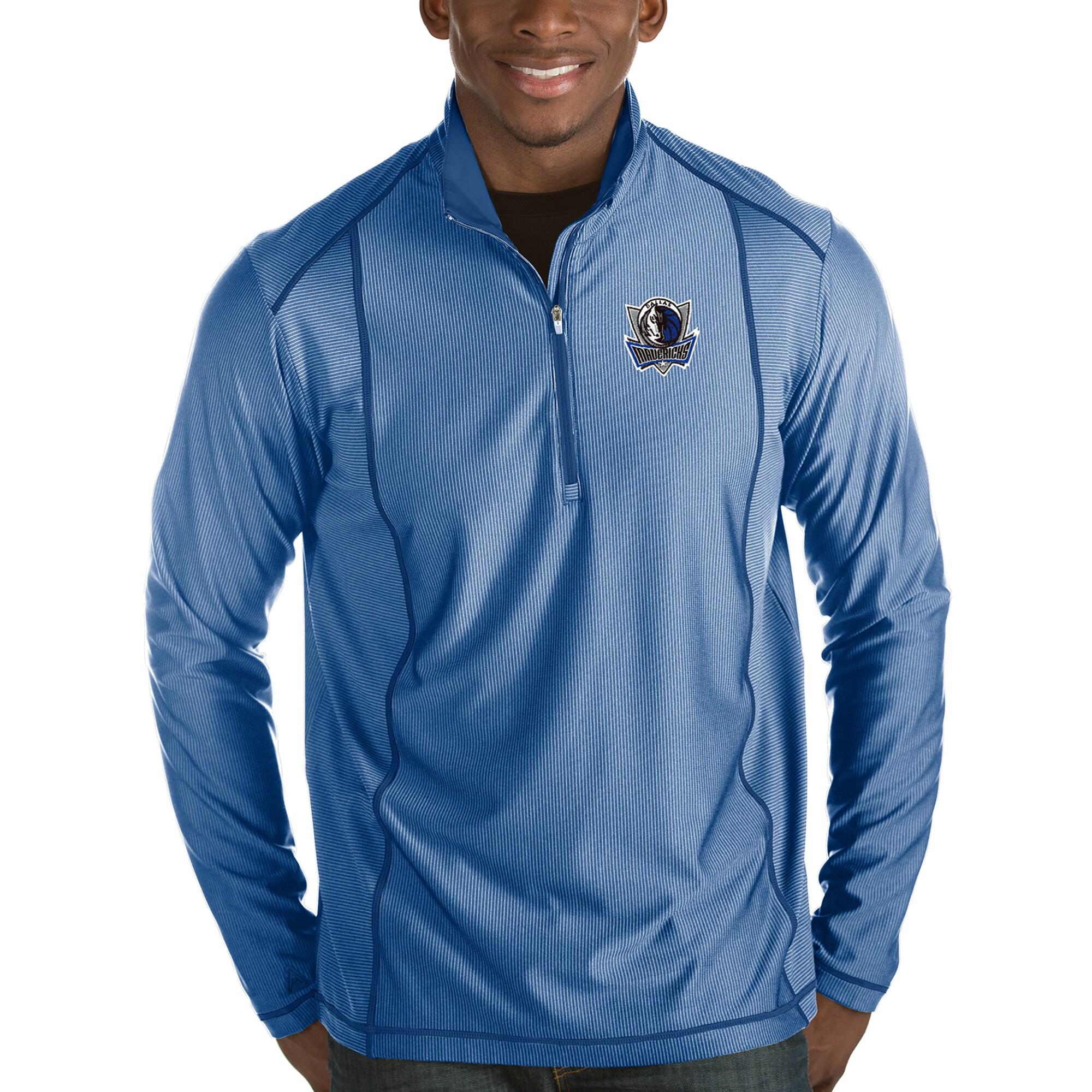 Dallas Mavericks Antigua Tempo Half-Zip Pullover Jacket - Royal