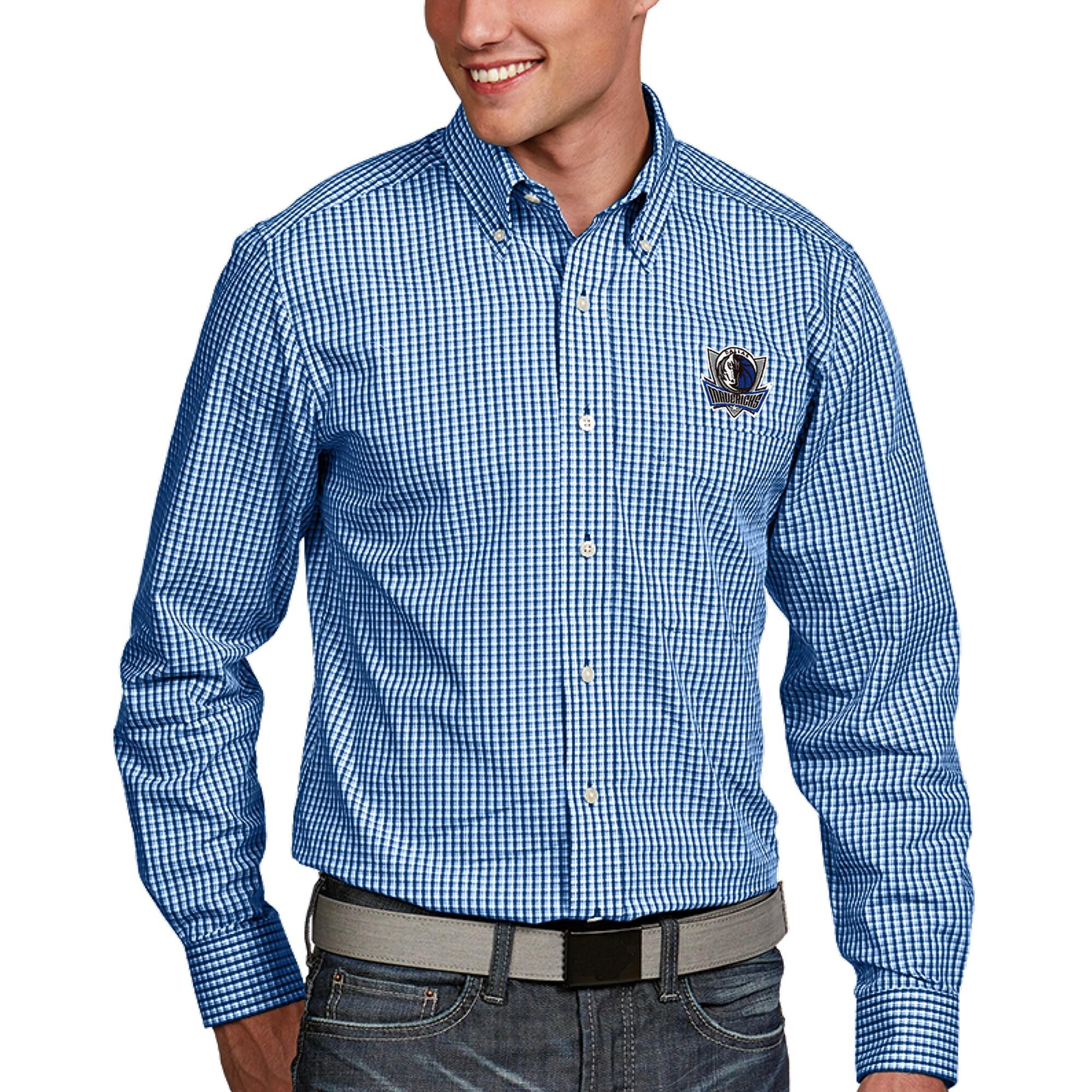 Dallas Mavericks Antigua Associate Button-Down Long Sleeve Shirt - Royal