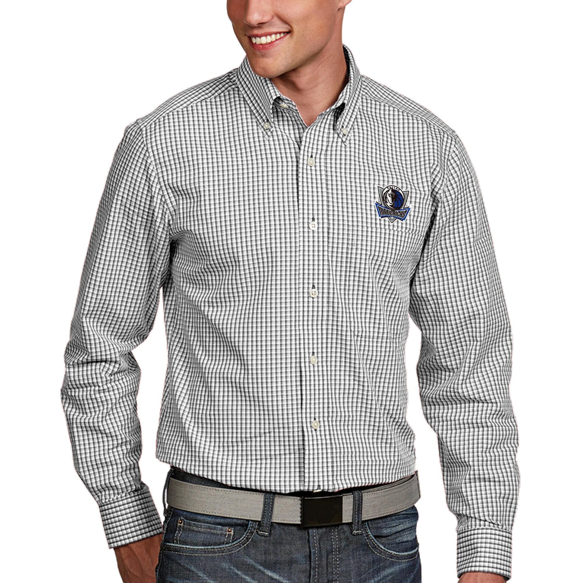 Dallas Mavericks Antigua Associate Button-Down Long Sleeve Shirt - White
