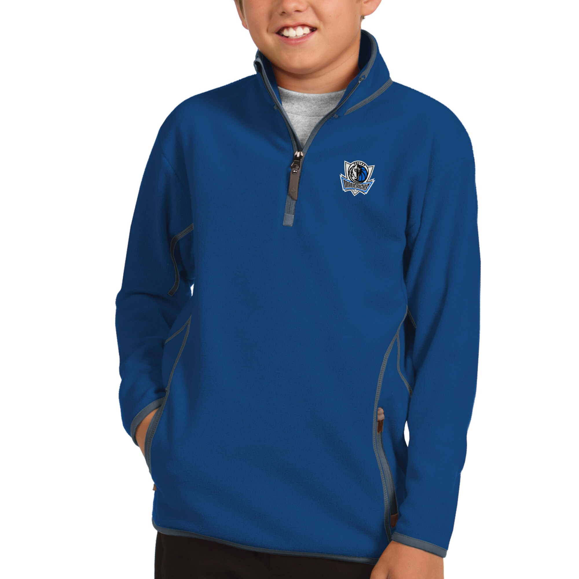 Dallas Mavericks Antigua Youth Ice Quarter-Zip Pullover Jacket - Royal