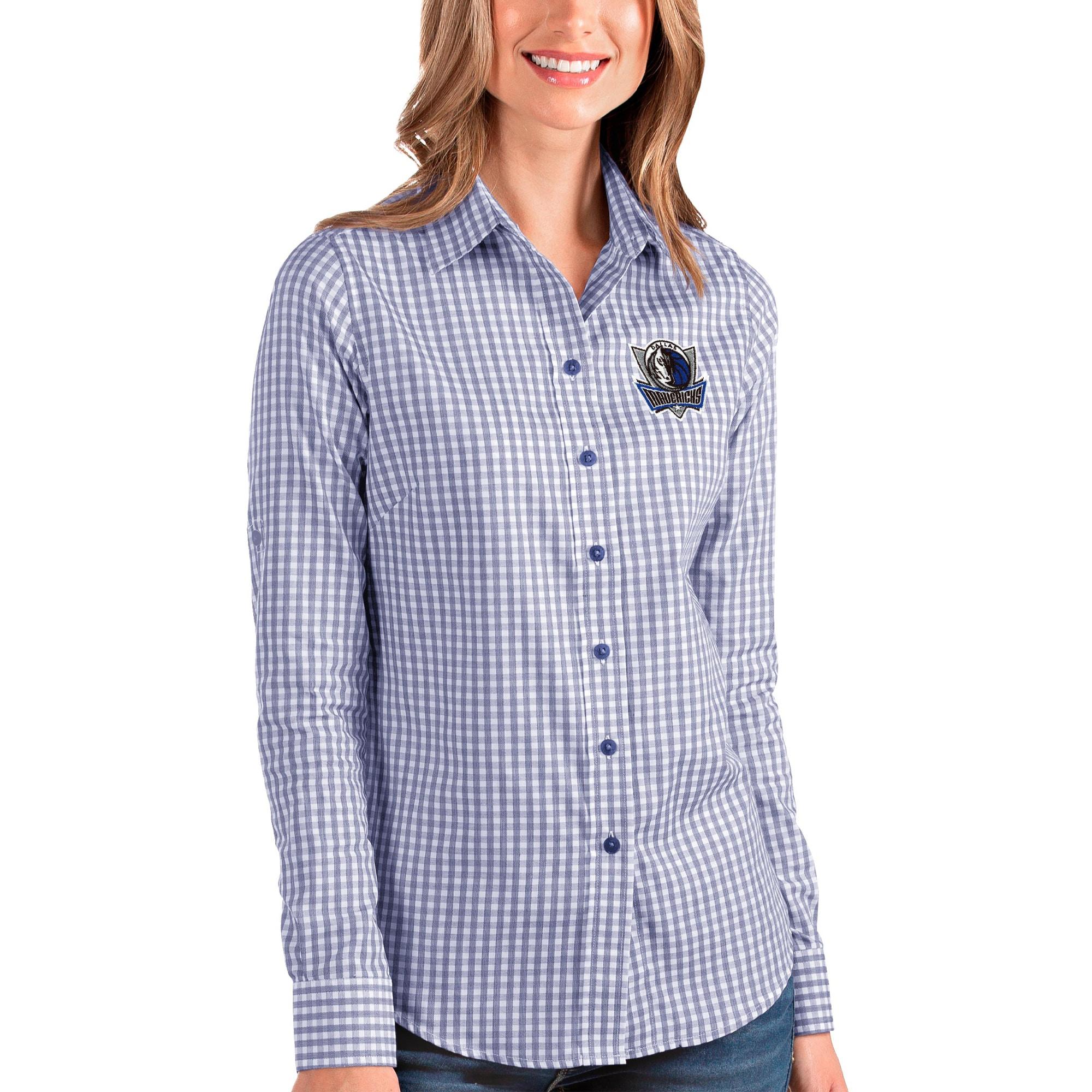 Dallas Mavericks Antigua Women's Structure Button-Up Long Sleeve Shirt - Royal/White
