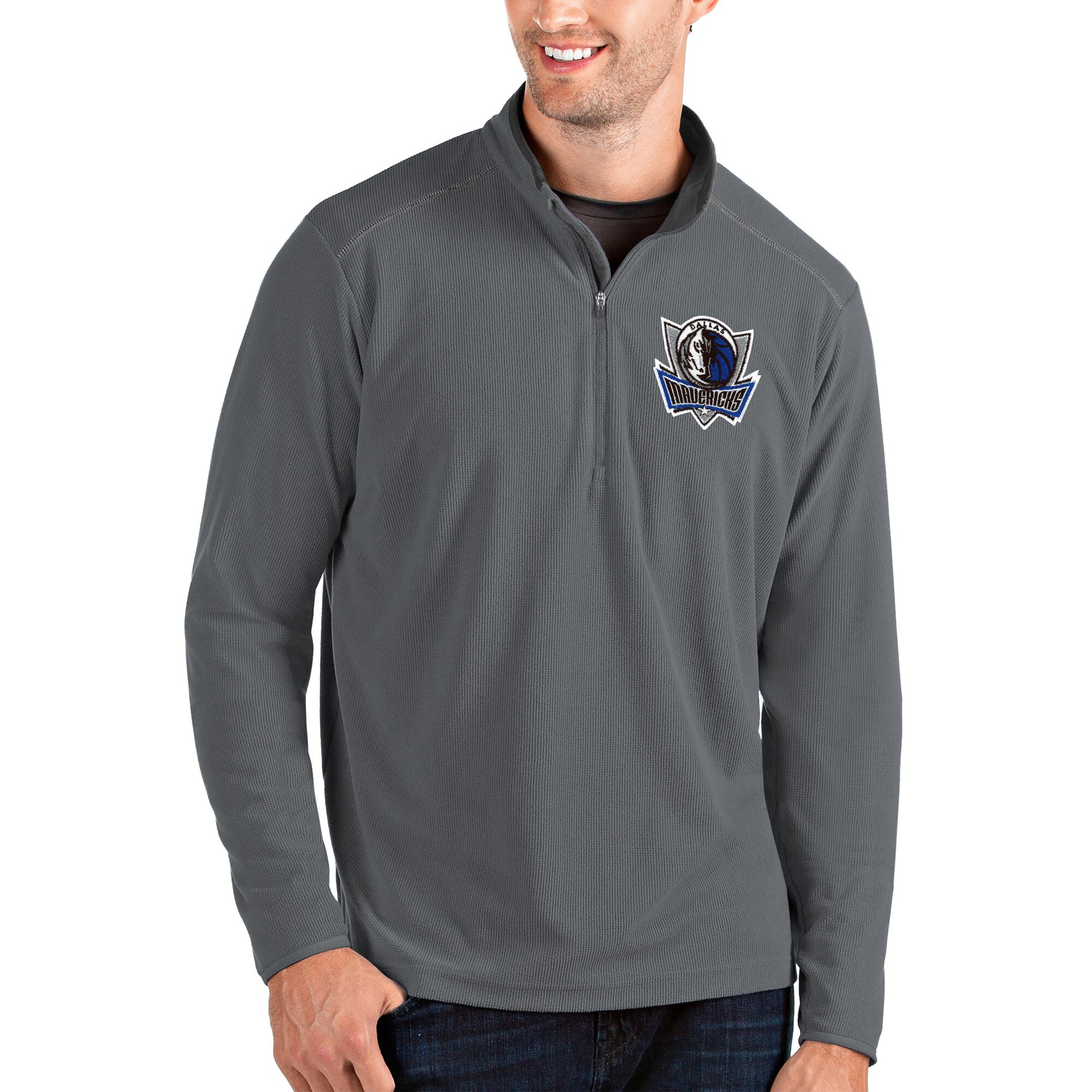 Dallas Mavericks Antigua Glacier Quarter-Zip Pullover Jacket - Charcoal/Gray