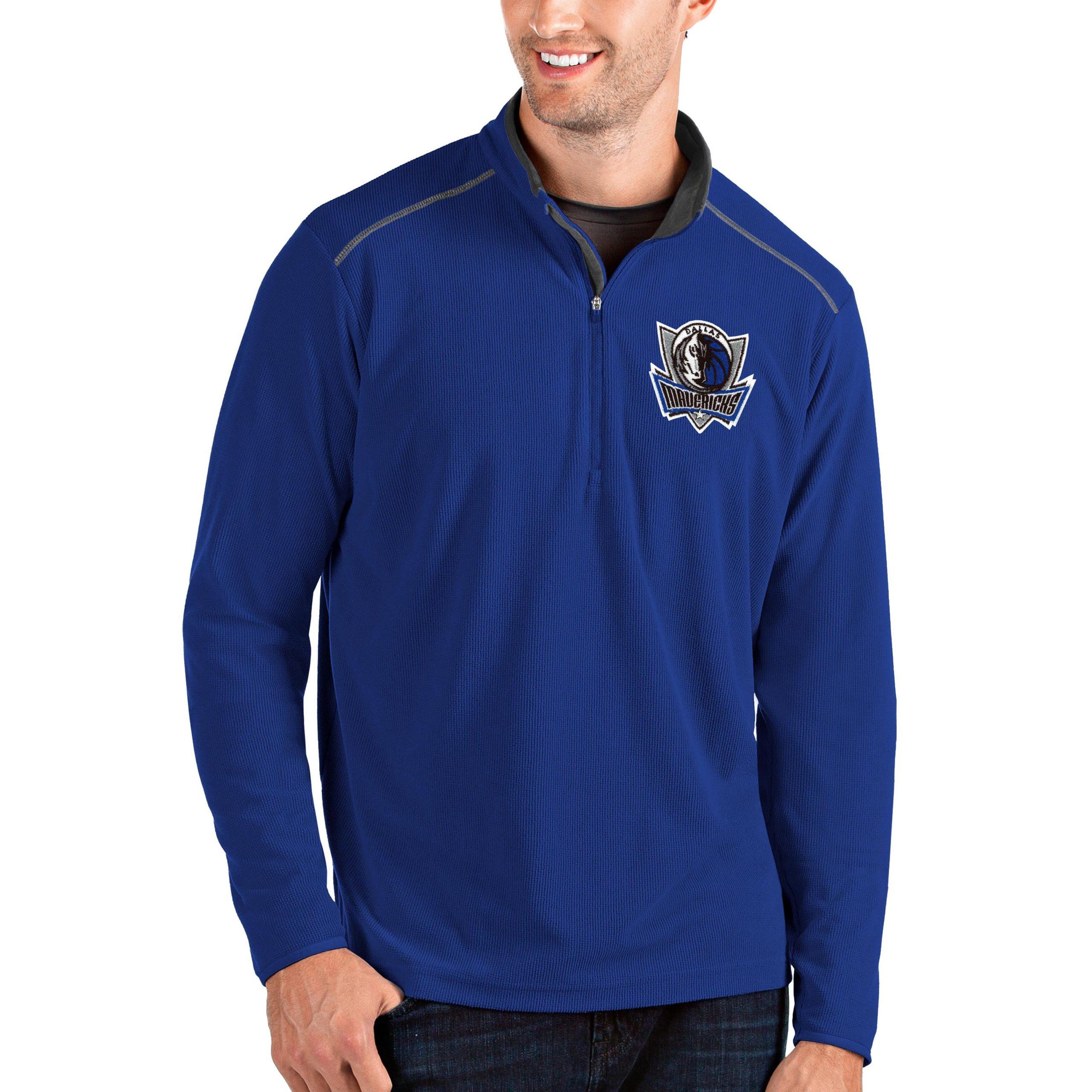 Dallas Mavericks Antigua Big & Tall Glacier Quarter-Zip Pullover Jacket - Royal/Gray